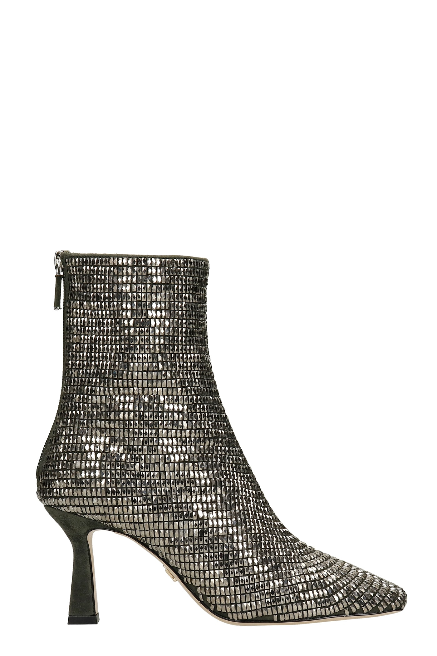 High Heels Ankle Boots In Silver Leather