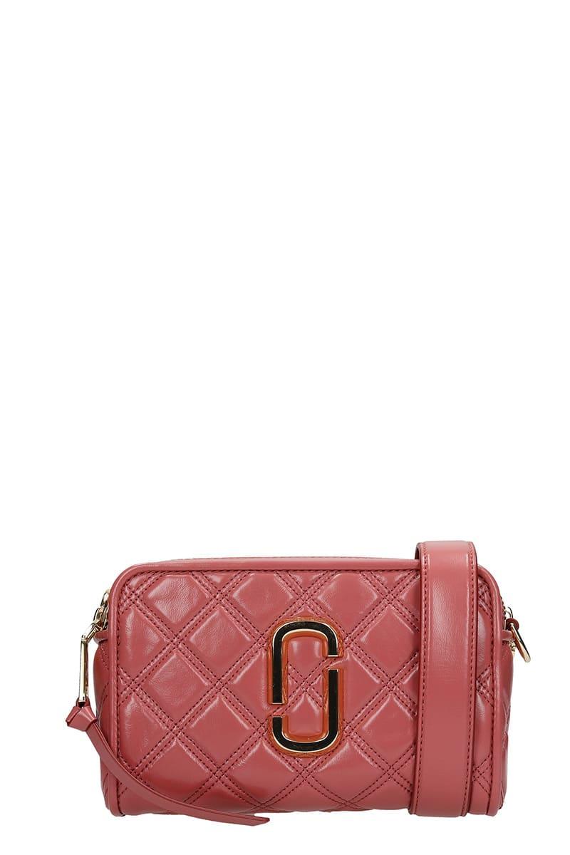 Marc Jacobs THE SOFTSHOT 21 SHOULDER BAG IN ROSE-PINK LEATHER