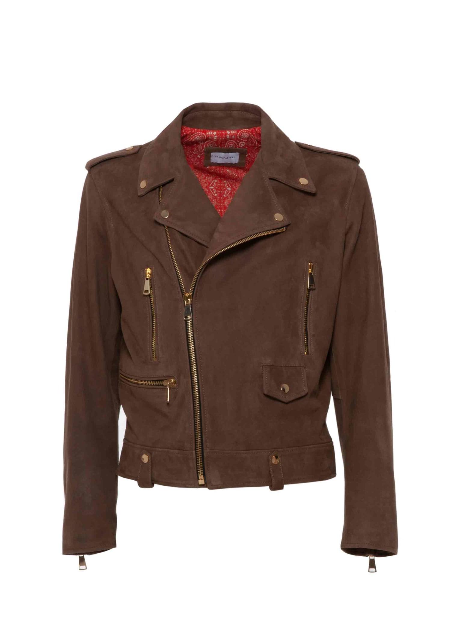 Biker Leather Suede Brown