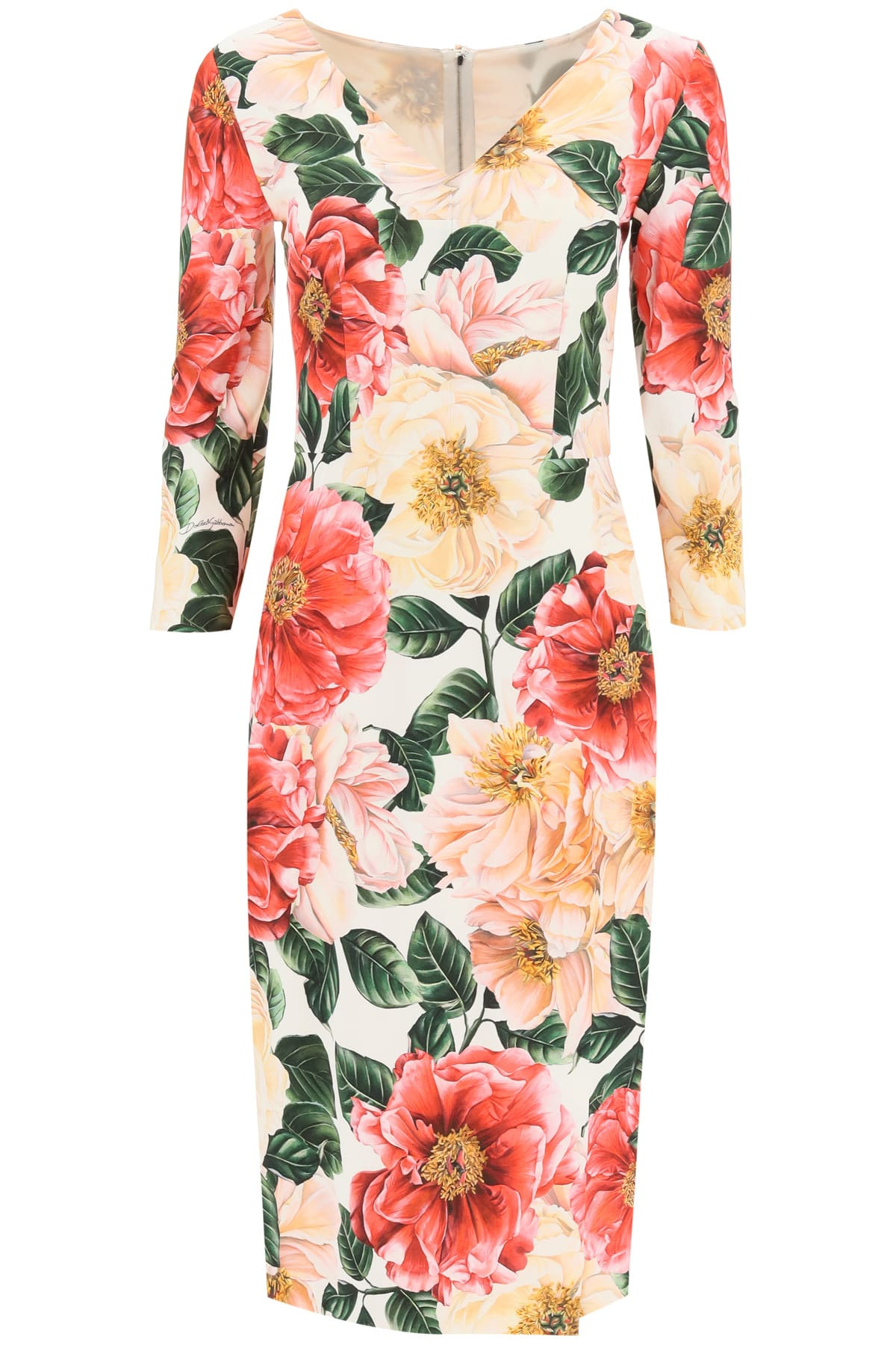 Buy Camellia Print Cady Dress online, shop Dolce & Gabbana with free shipping