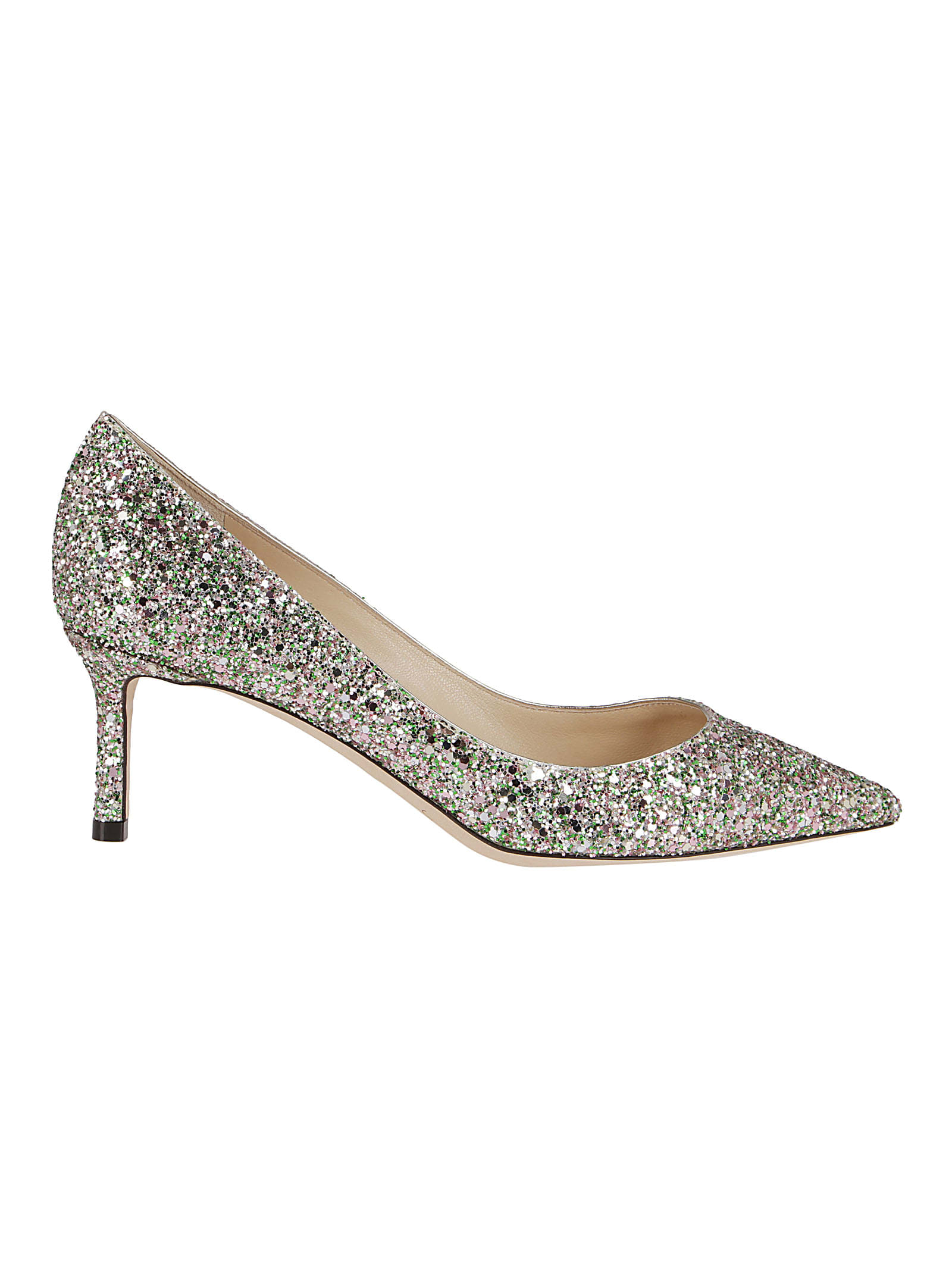 Jimmy Choo SILVER-TONE LEATHER ROMY 60 PUMPS