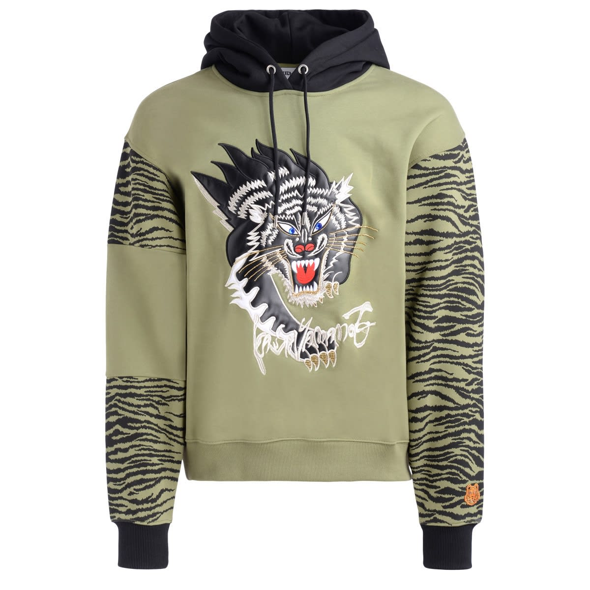 Kenzo GREEN KENZO SWEATSHIRT FOR KANSAIYAMAMOTO WITH BLACK PANTHER PRINT