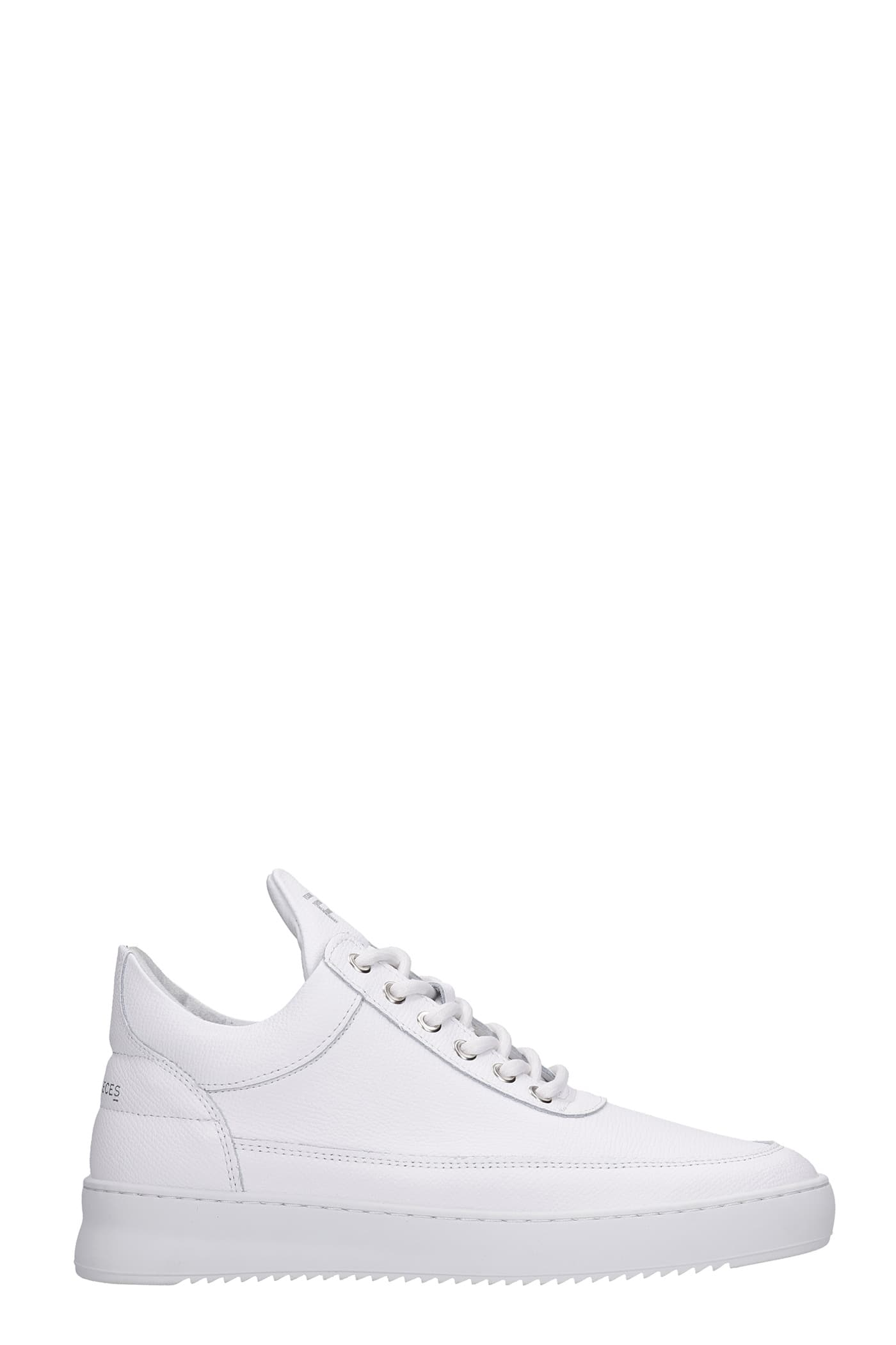 Low Top Ripple Sneakers In White Leather