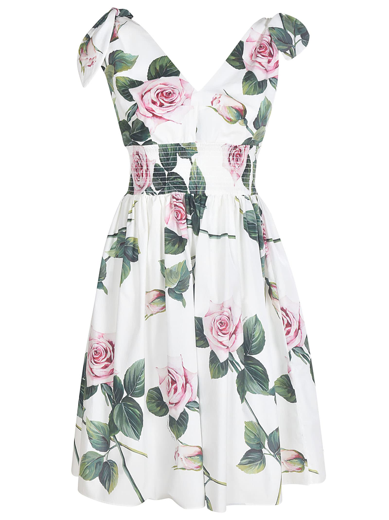 Buy Dolce & Gabbana Rose Printed Flared Dress online, shop Dolce & Gabbana with free shipping