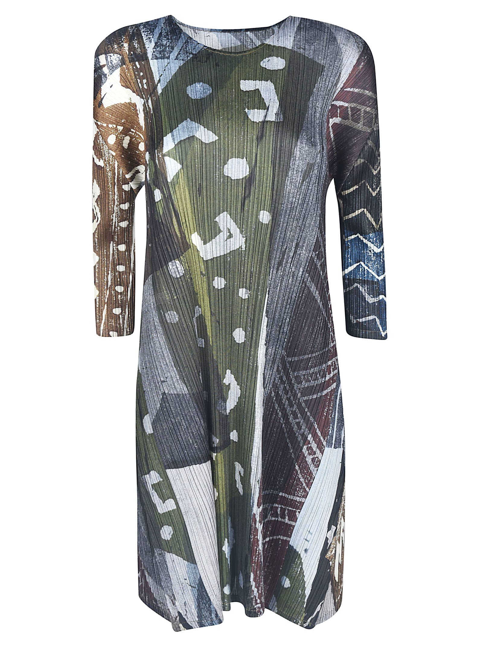 Pleats Please Issey Miyake Multi-print Detail Dress