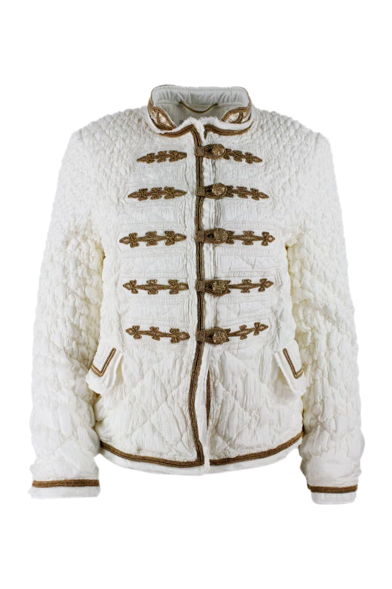 Ermanno Scervino LIGHT LONG-SLEEVED QUILTED JACKET WITH FROGS AND INSERTS IN GOLD COLOR
