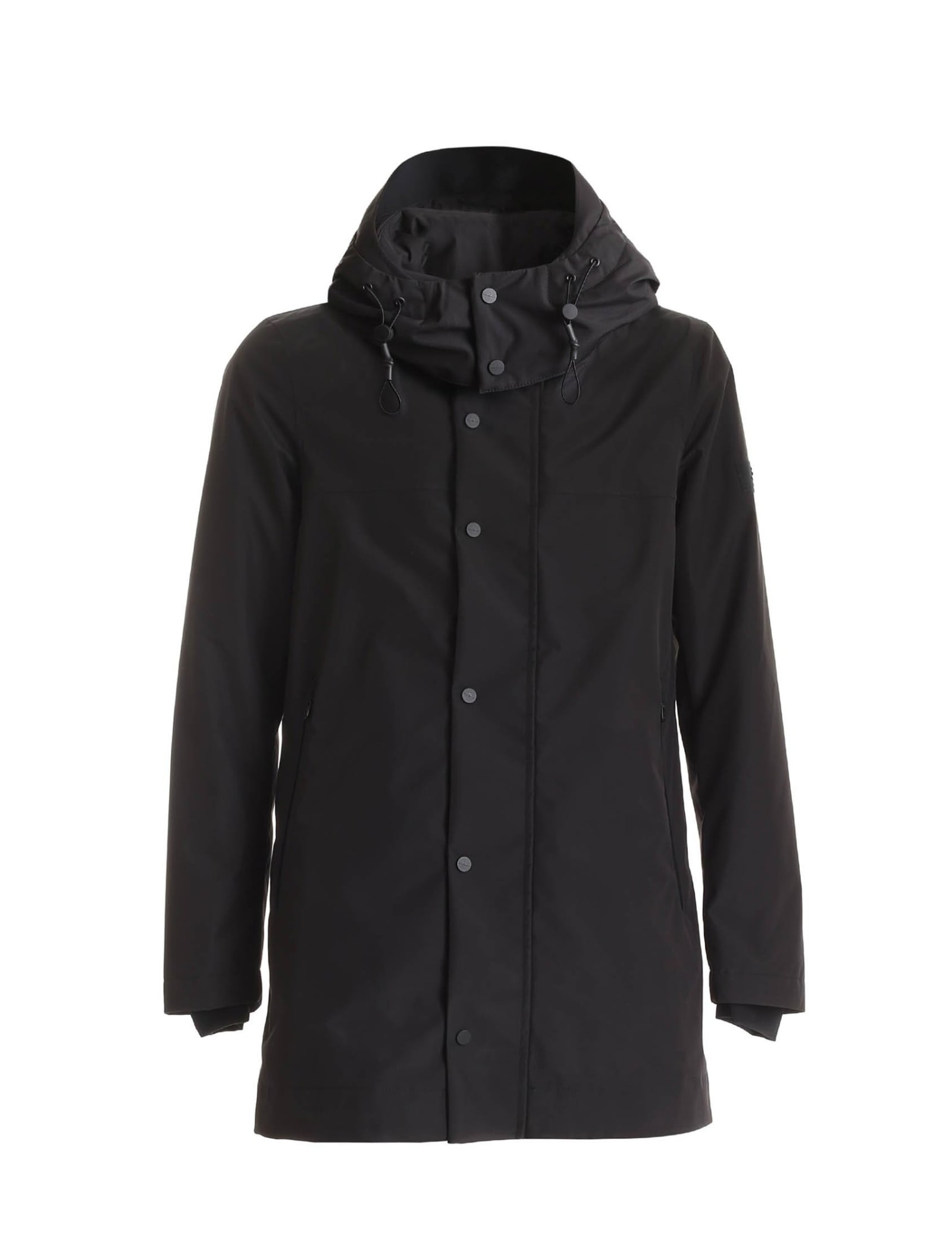 Rainproof and windproof trench coat black colour semi-gloss fabric with breathable membrane central hidden zip closure removable hood two large pockets with zip composition 100% polyester padding 100% polyester fit regular