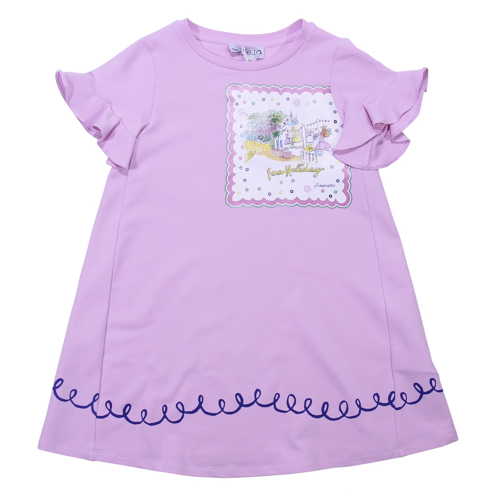 Simonetta Pink Cotton Sweatshirt Dress
