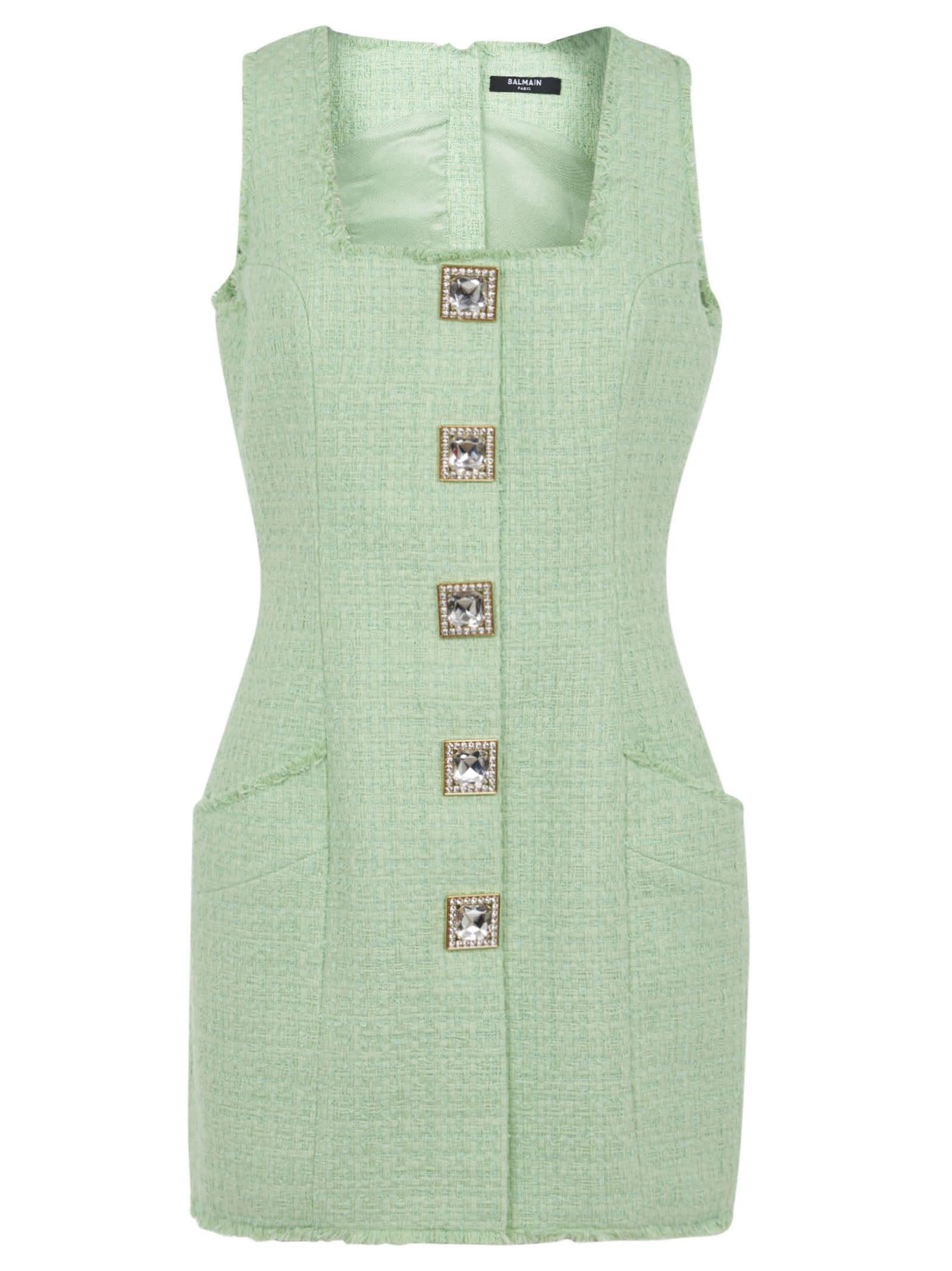 Balmain SQUARE BUTTON DETAIL SLEEVELESS DRESS