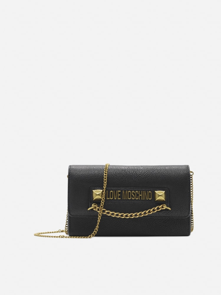 Love Moschino Shoulder Bag With Contrasting Logo Lettering In Black