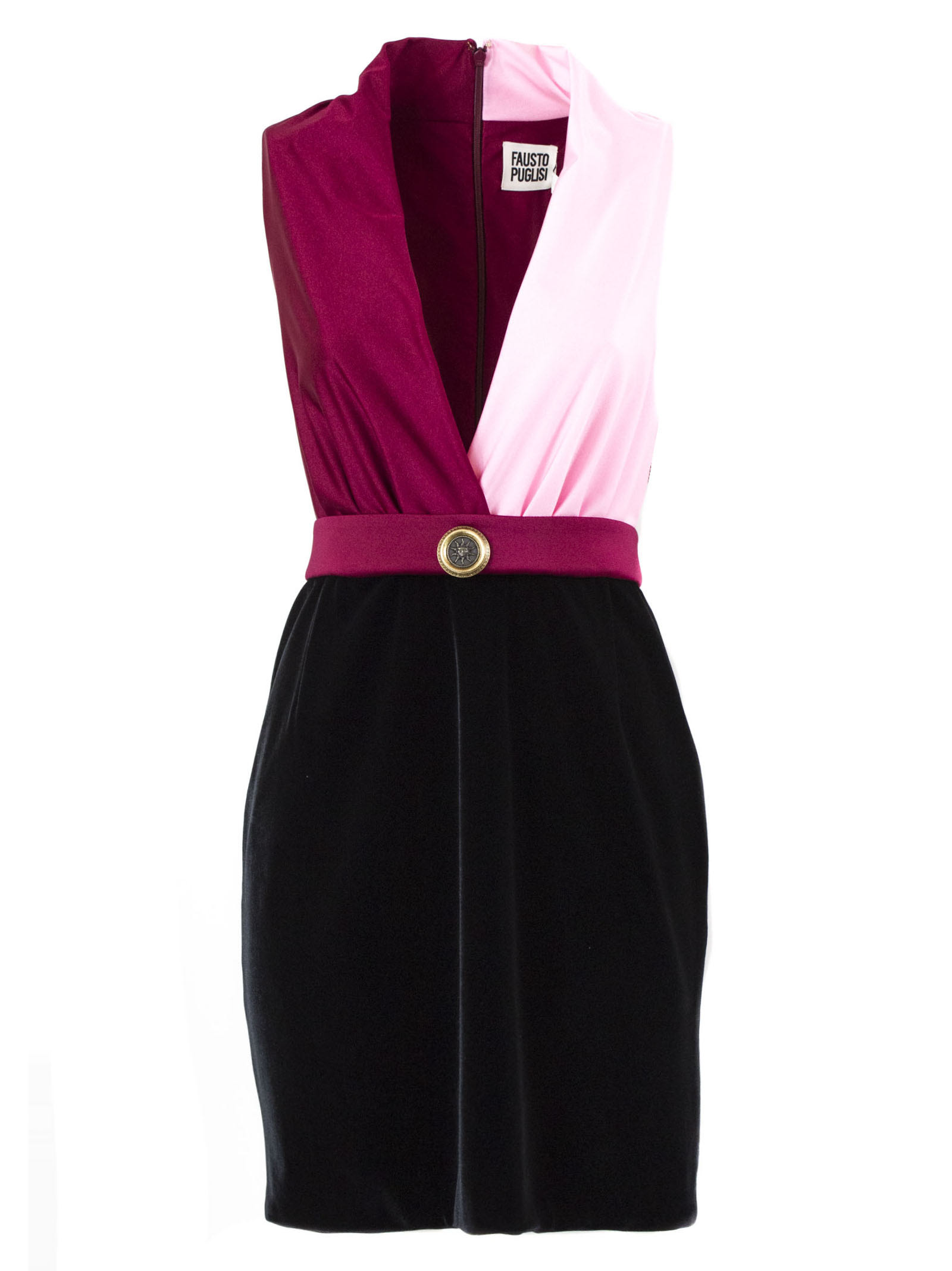 Fausto Puglisi Dress In Pink, Red And Black Fabric
