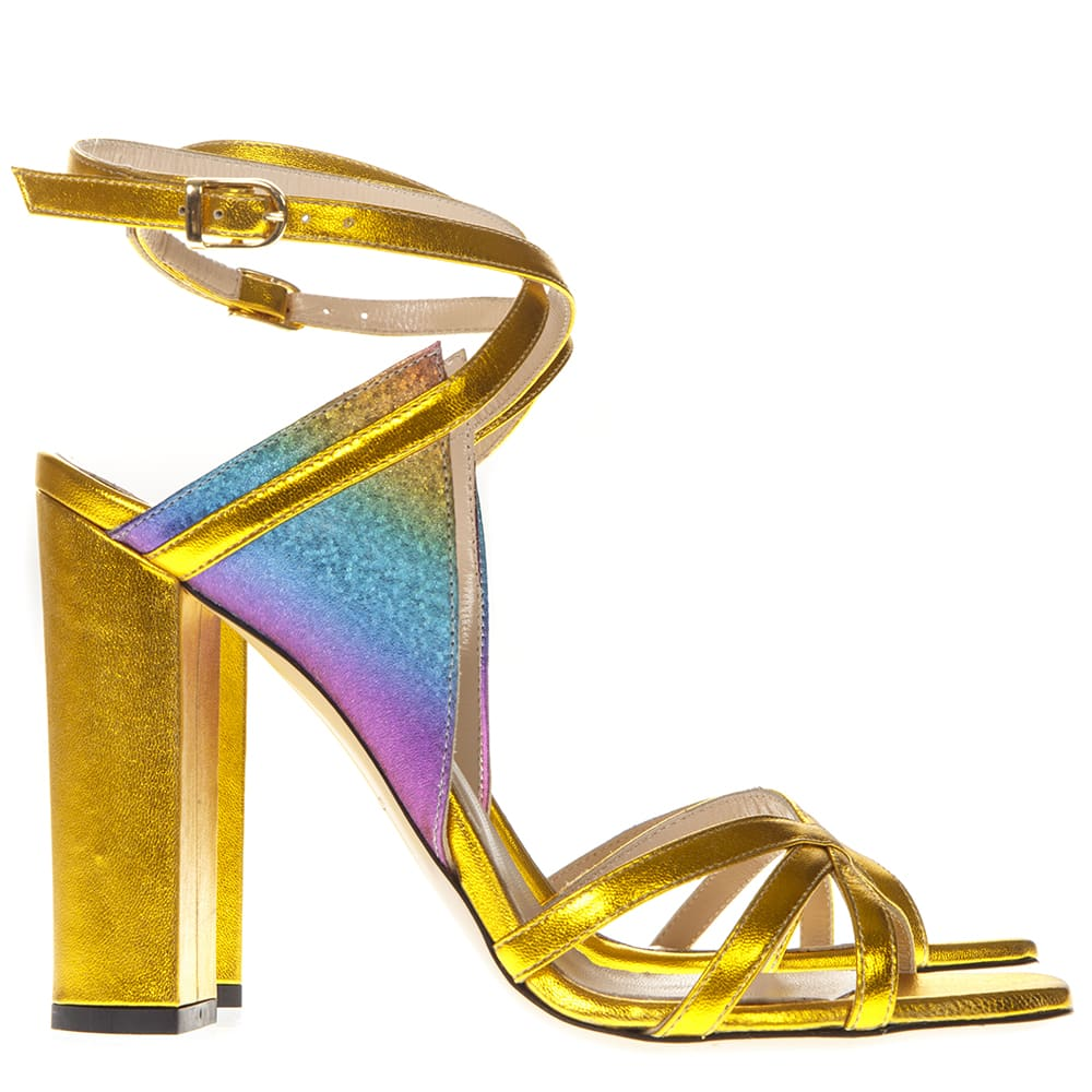Laminated Gold Leather Multicolor Insert Sandals