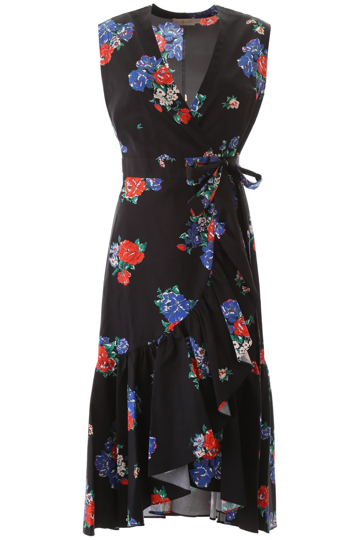 Buy Tory Burch Flower Print Wrap Dress online, shop Tory Burch with free shipping