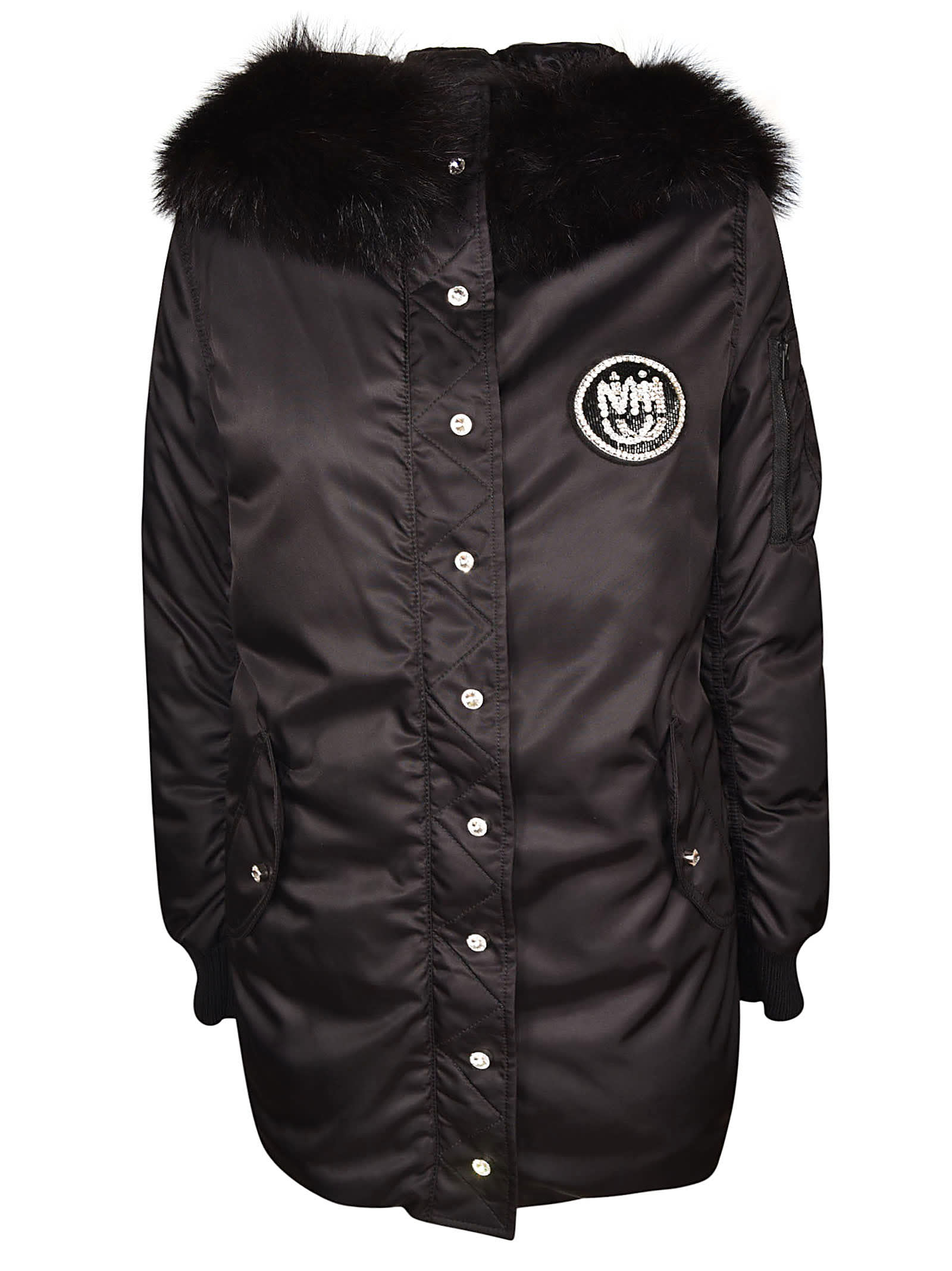 Miu Miu Buttoned Logo Patch Hooded Jacket