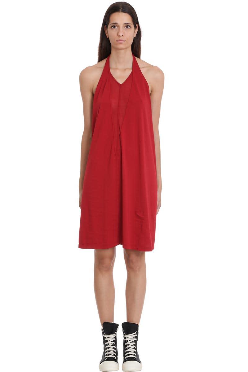 DRKSHDW Dbl V Halter Dress In Red Cotton