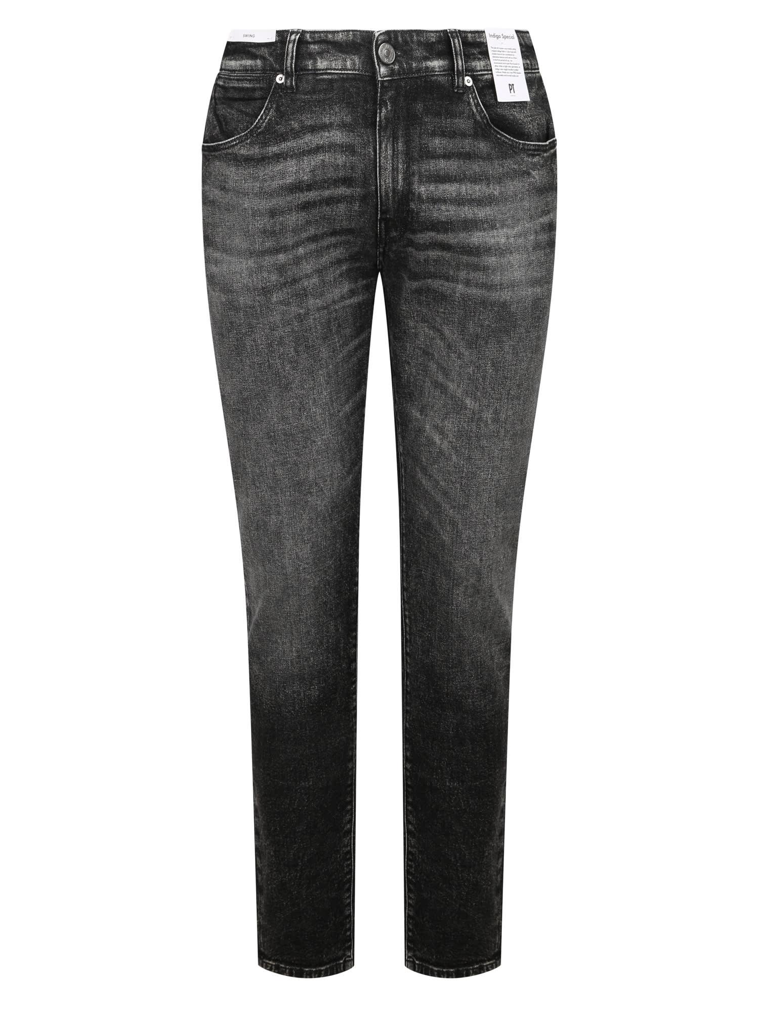 Pt01 Jeans Stretch Vintage Nero In Black