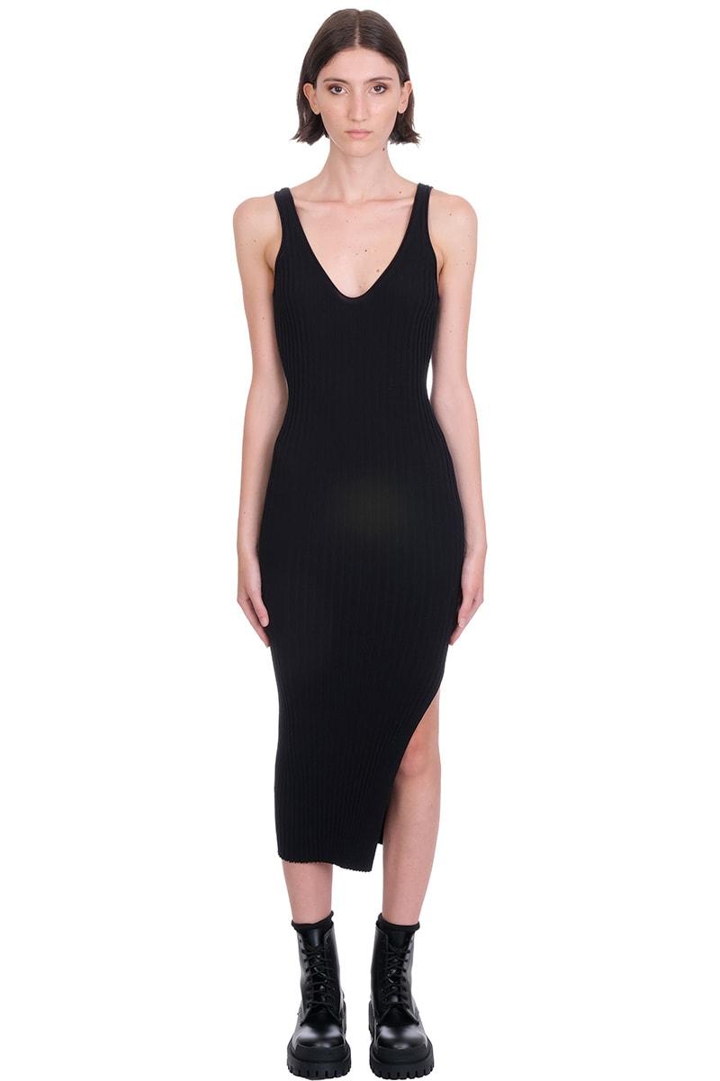 Buy Helmut Lang Rib Tank Dress Dress In Black Cotton online, shop Helmut Lang with free shipping