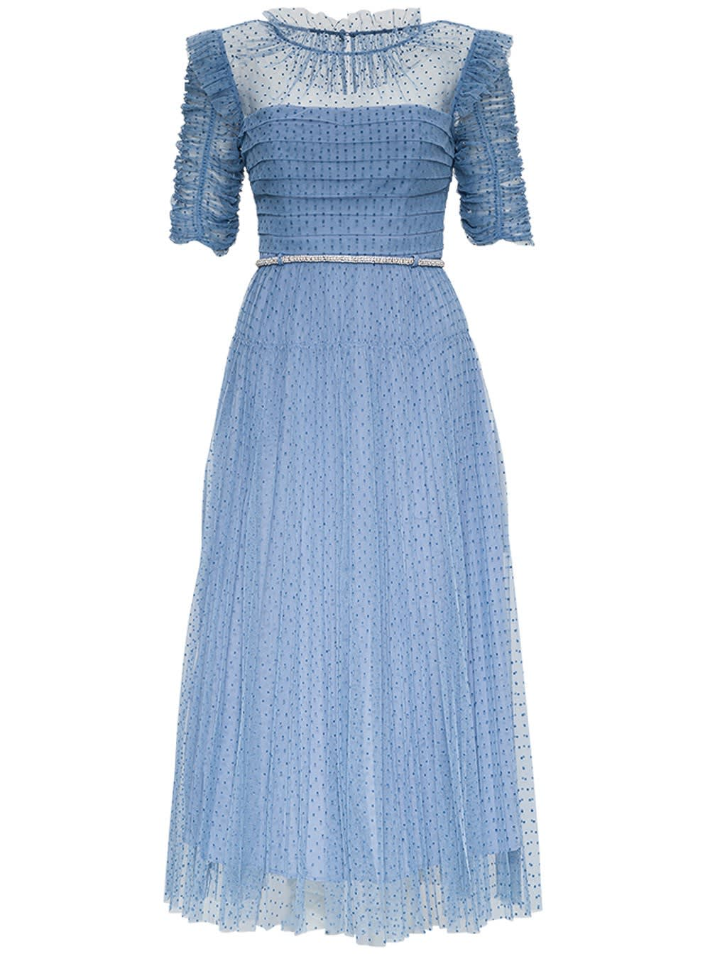 Self-Portrait LONG DRESS IN LIGHT BLUE POLKA DOTTULLE