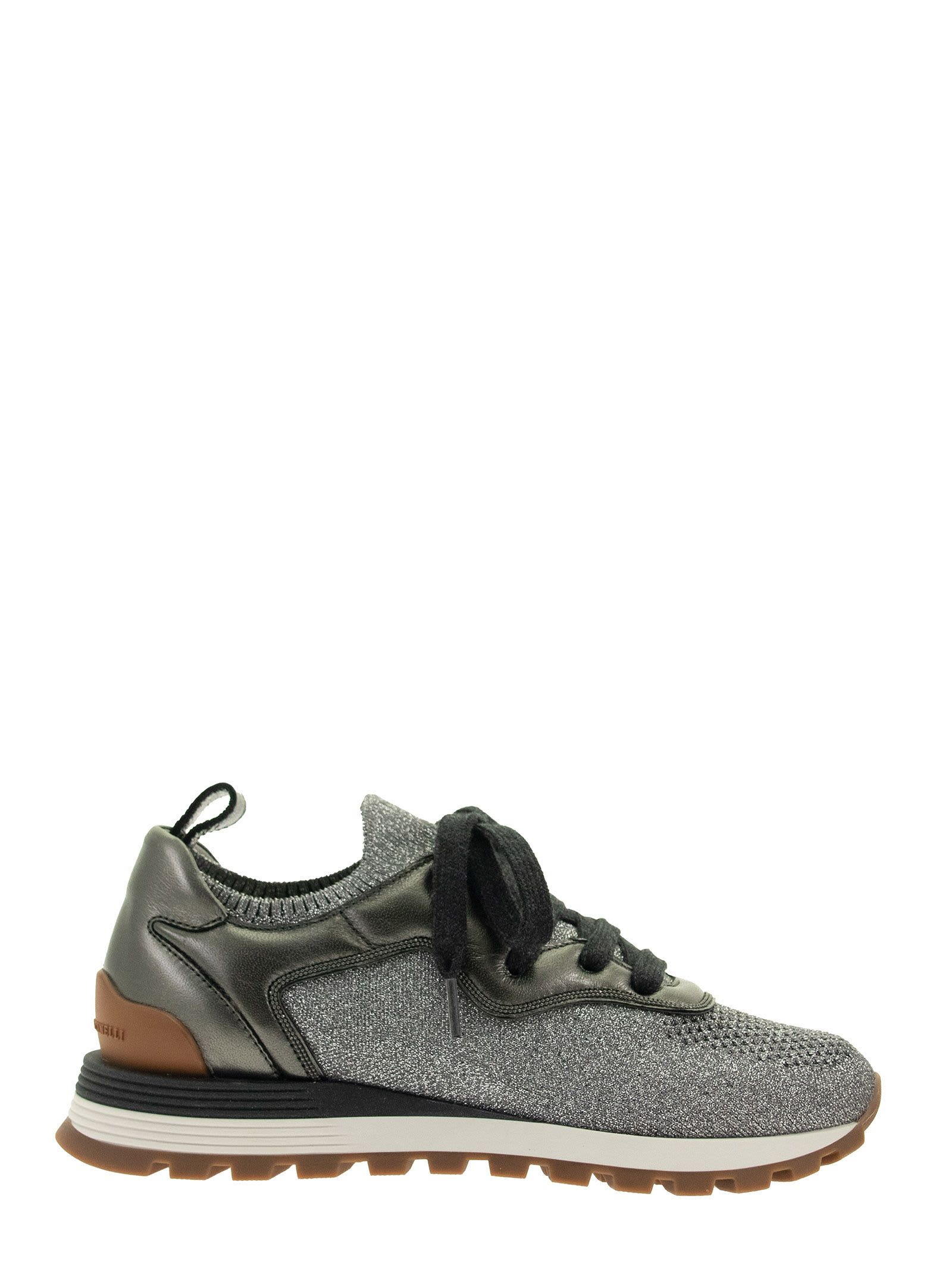 Brunello Cucinelli SNEAKERS SPARKLING KNIT AND NAPPA LEATHER RUNNERS WITH SHINY CONTOUR