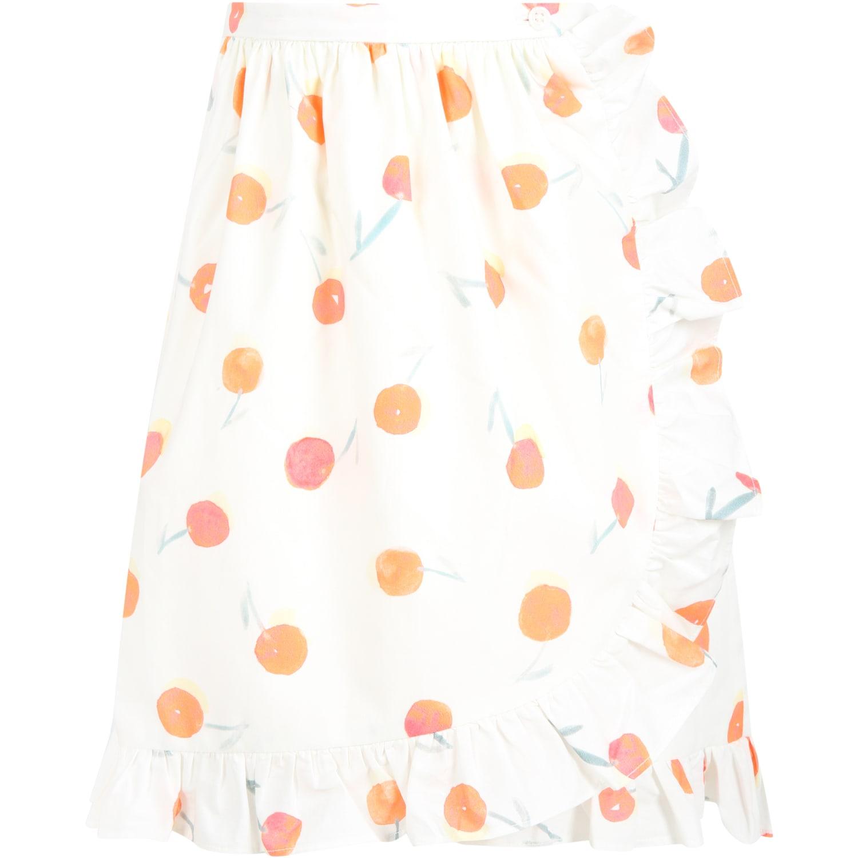Ivory Skirt For Girl With Cherries
