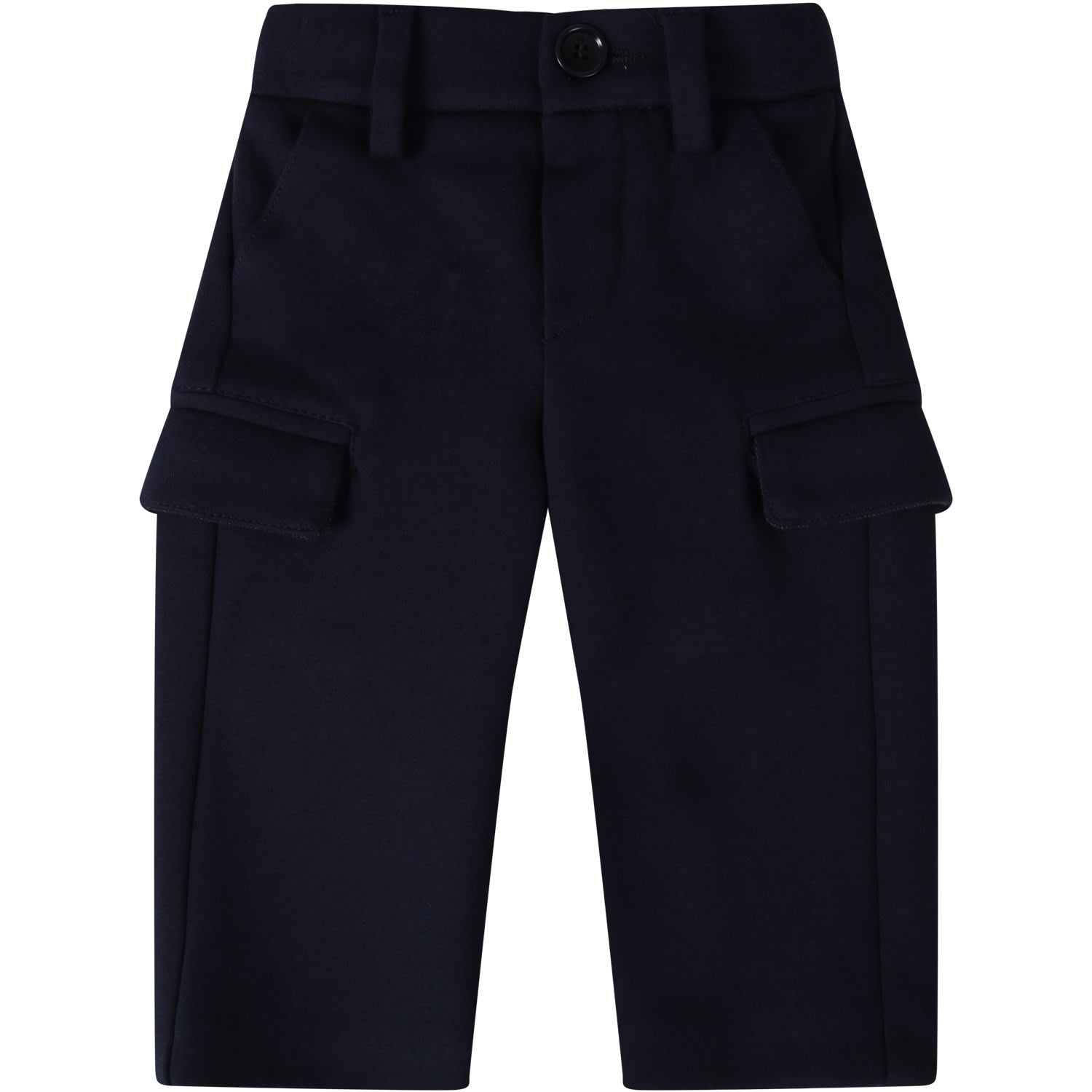 Color: Blue Blue pants, with elatisicized waistband on the back, flapped pockets and buttoned closure, on the front. Its embellished with embroidered logo, on the back. 65% Cotton 26% Polyester 9% Polyamide Dry clean.
