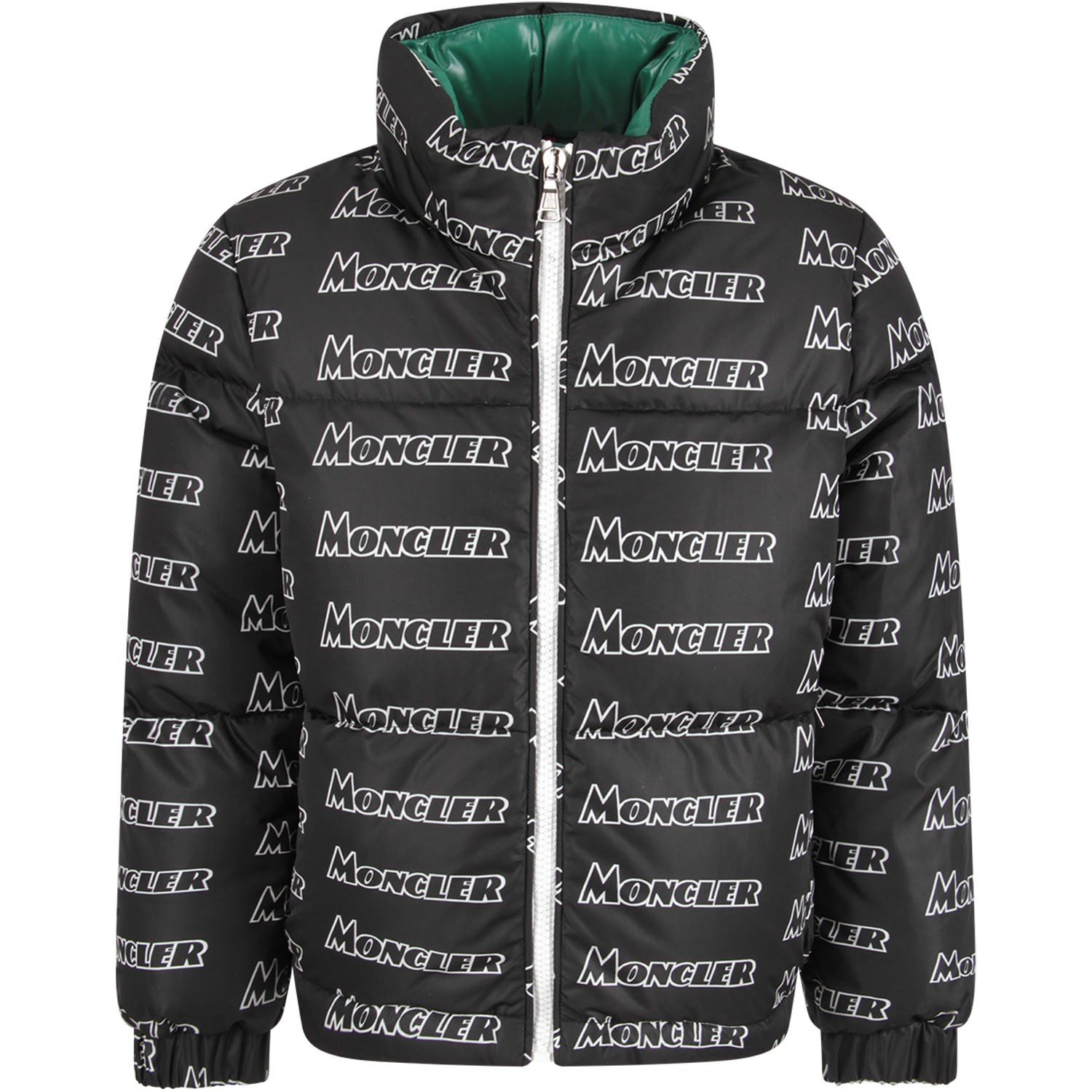 best sneakers 506f4 72b57 Best price on the market at italist   Moncler Moncler Black Boy Jacket With  White Logo