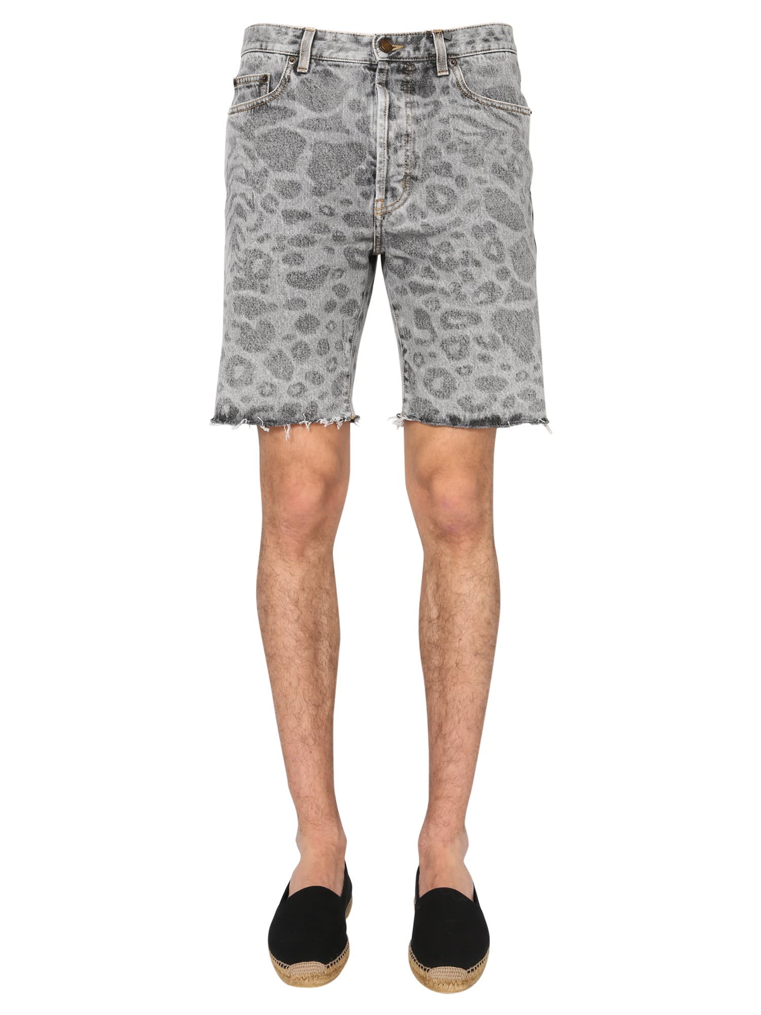 Saint Laurent Jeans SHORTS WITH SPOTTED PRINT