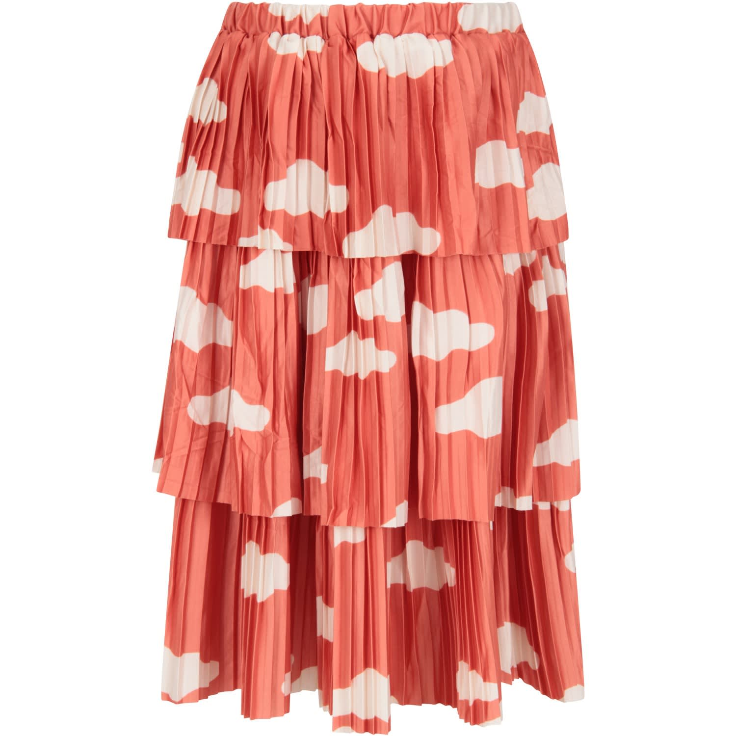 Bobo Choses ORANGE GIRL SKIRT WITH CLOUDS