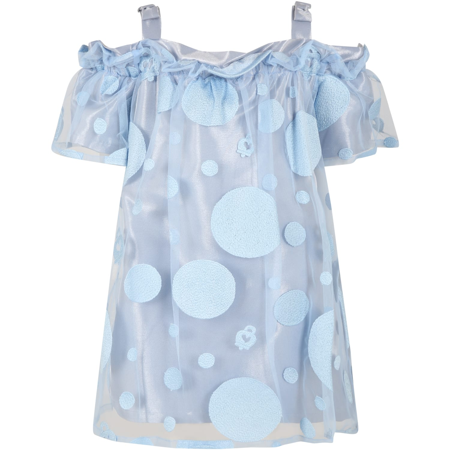 Buy Simonetta Light Blue Dress For Girl With Embroidery online, shop Simonetta with free shipping