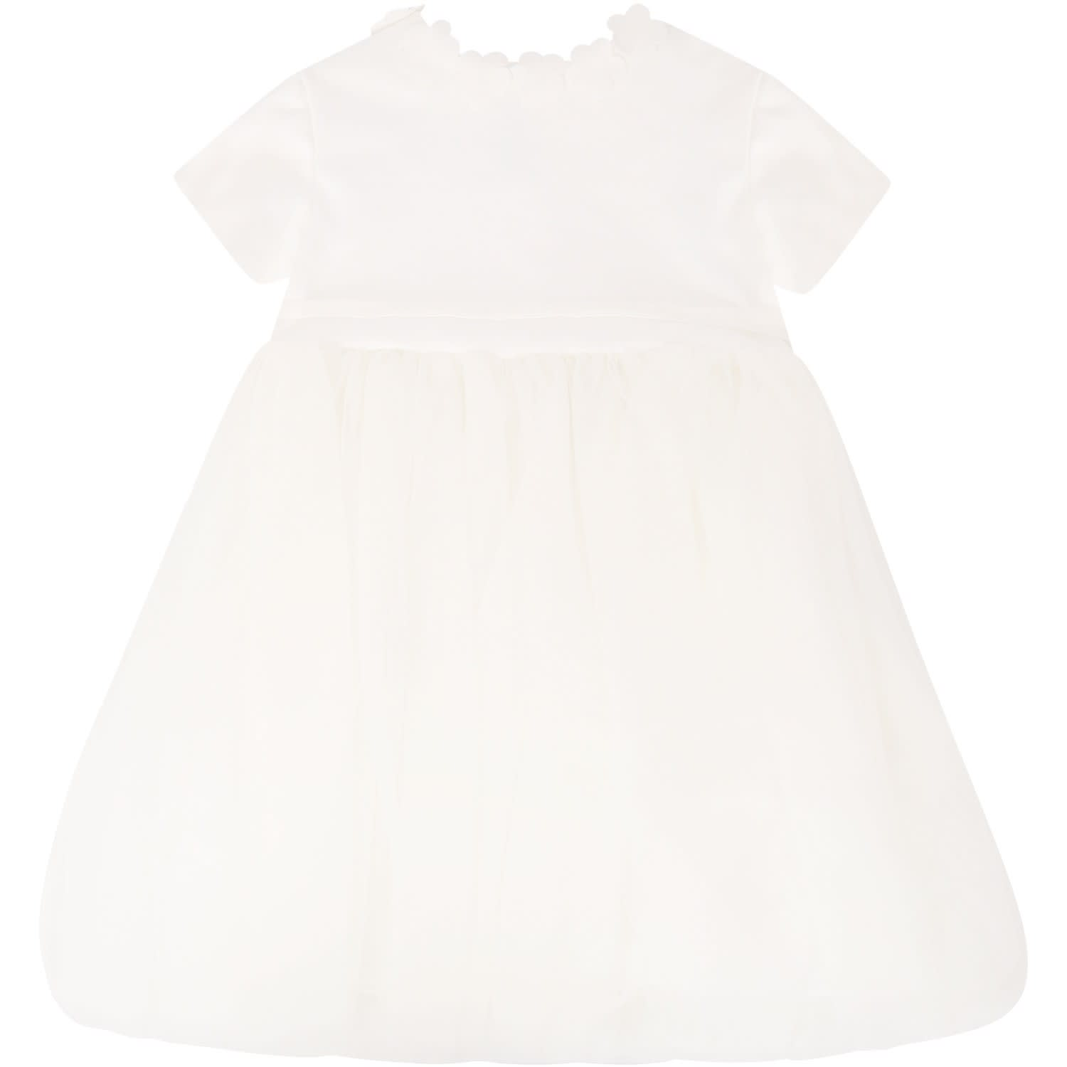 Little Bear Ivory Dress With Flowers Applied