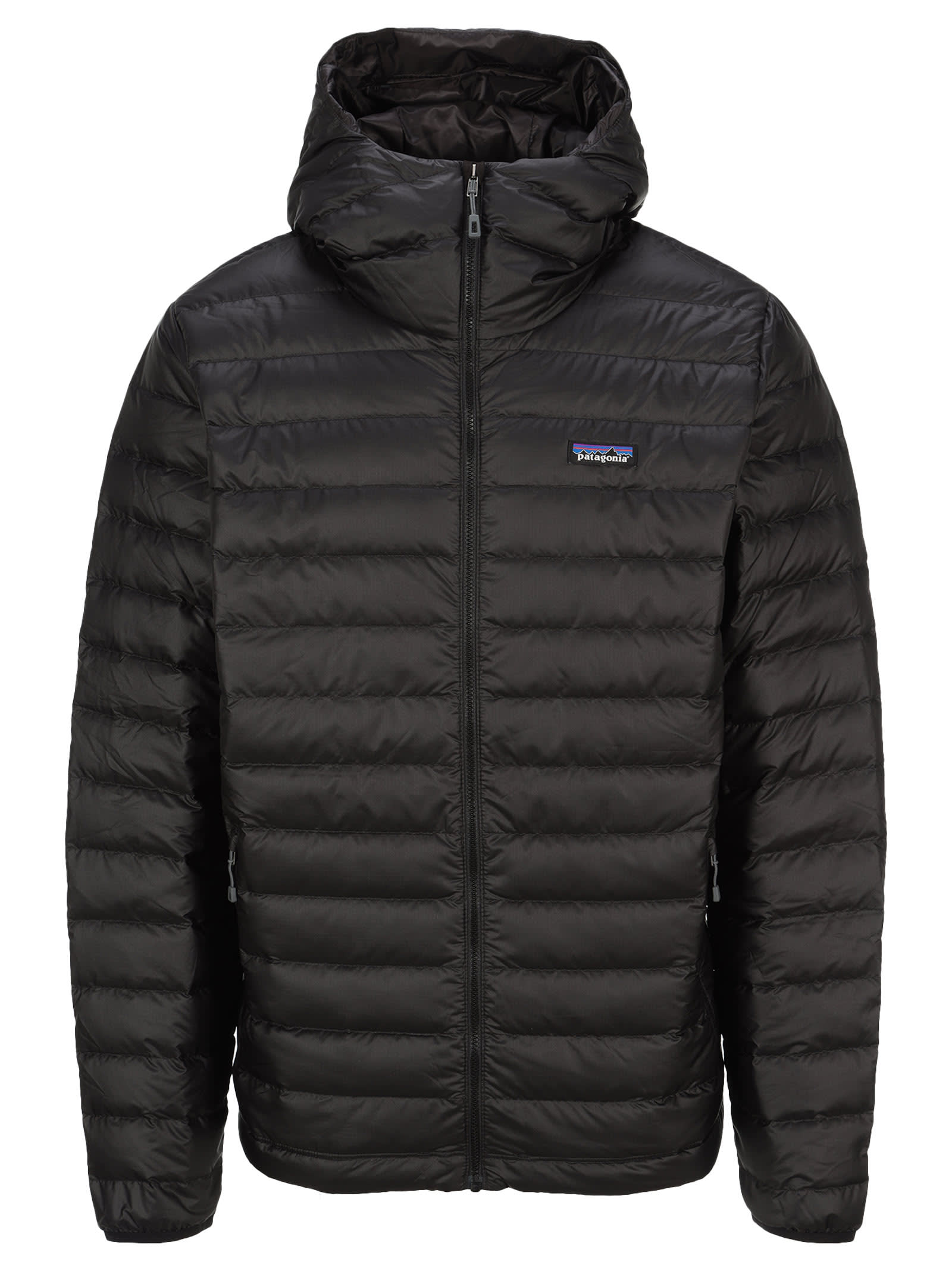 Black Down Sweater Hoody By Patagonia. Featuring: - Hood; - Front Zip Fastening; - Logo Patch At The Chest; - Side Zip Pockets; - Long Sleeves; - Straight Hem. Composition: 100% RECYCLED POLYESTER - PADDING:, 90% DOWN, 10% FEATHER