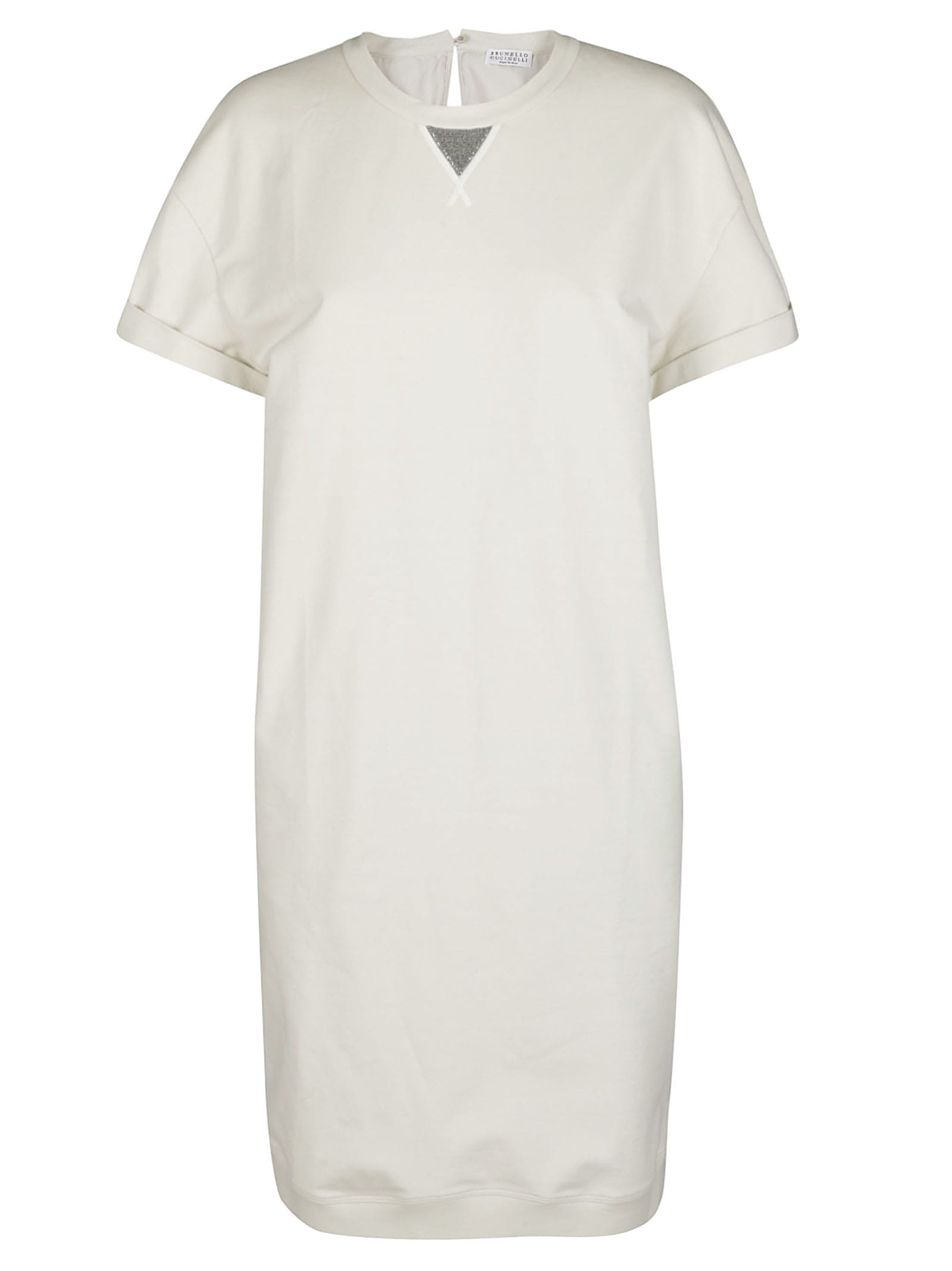 Brunello Cucinelli White Cotton Dress In Beige
