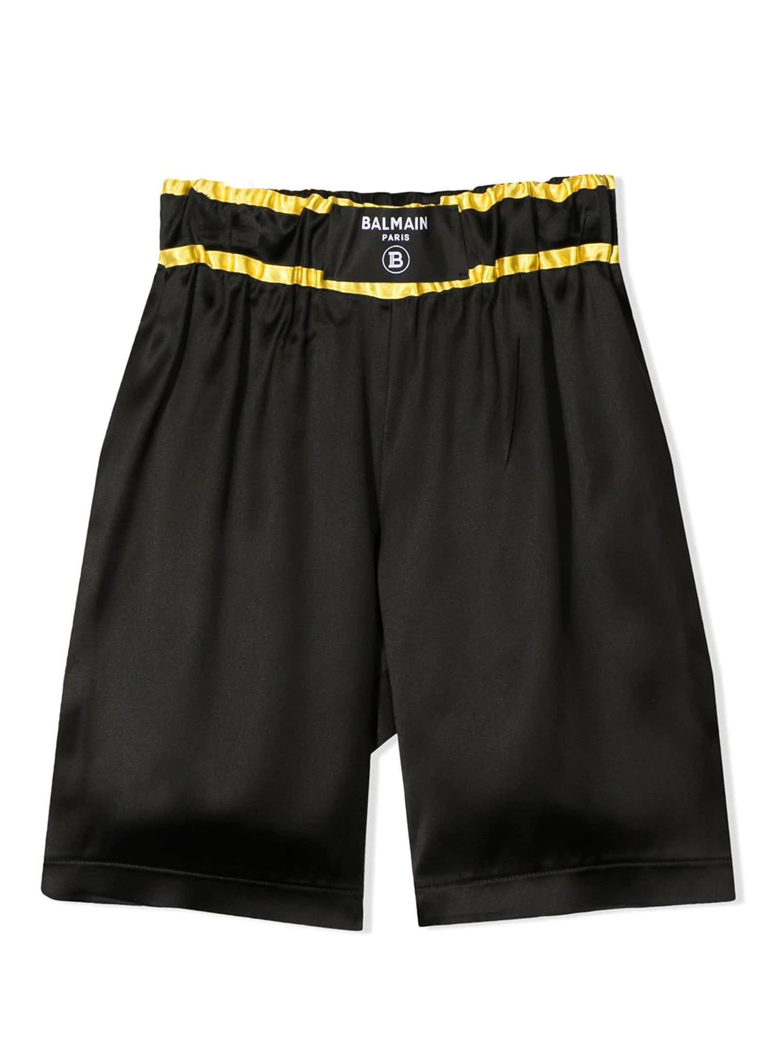 Balmain Shorts BLACK AND YELLOW SHORTS
