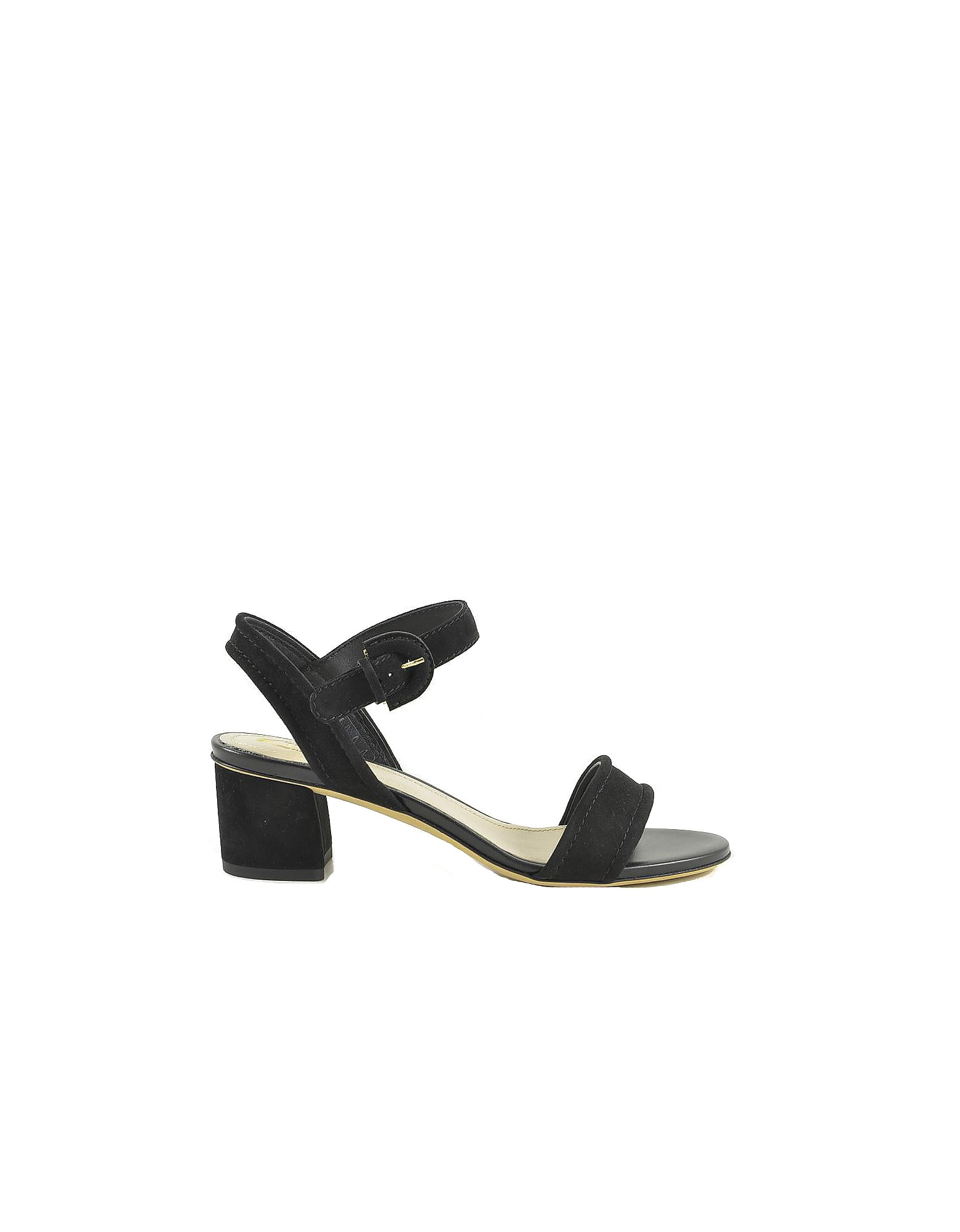 Tods Black Suede Mid-heel Sandals