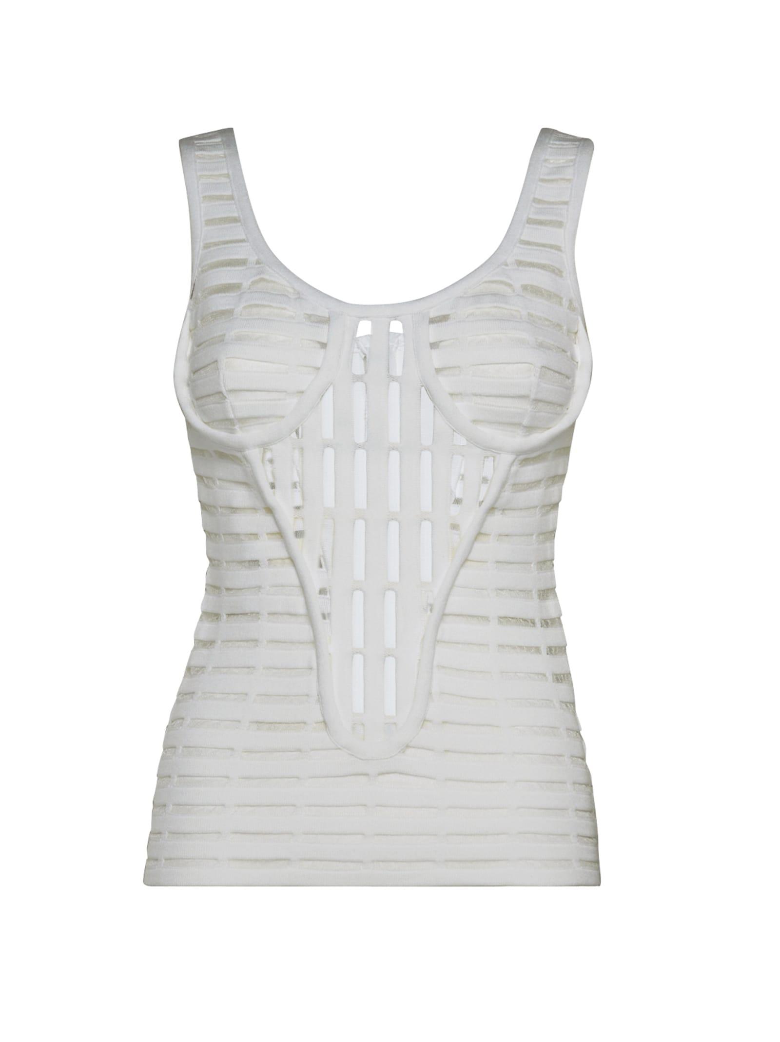 White Open-knit Top