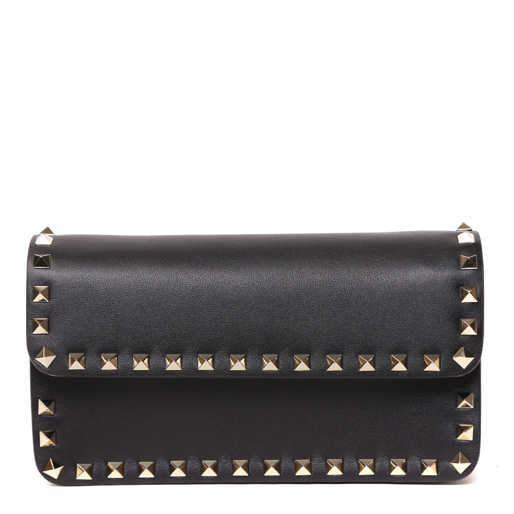 Valentino Garavani Rockstud Black Leather Clutch