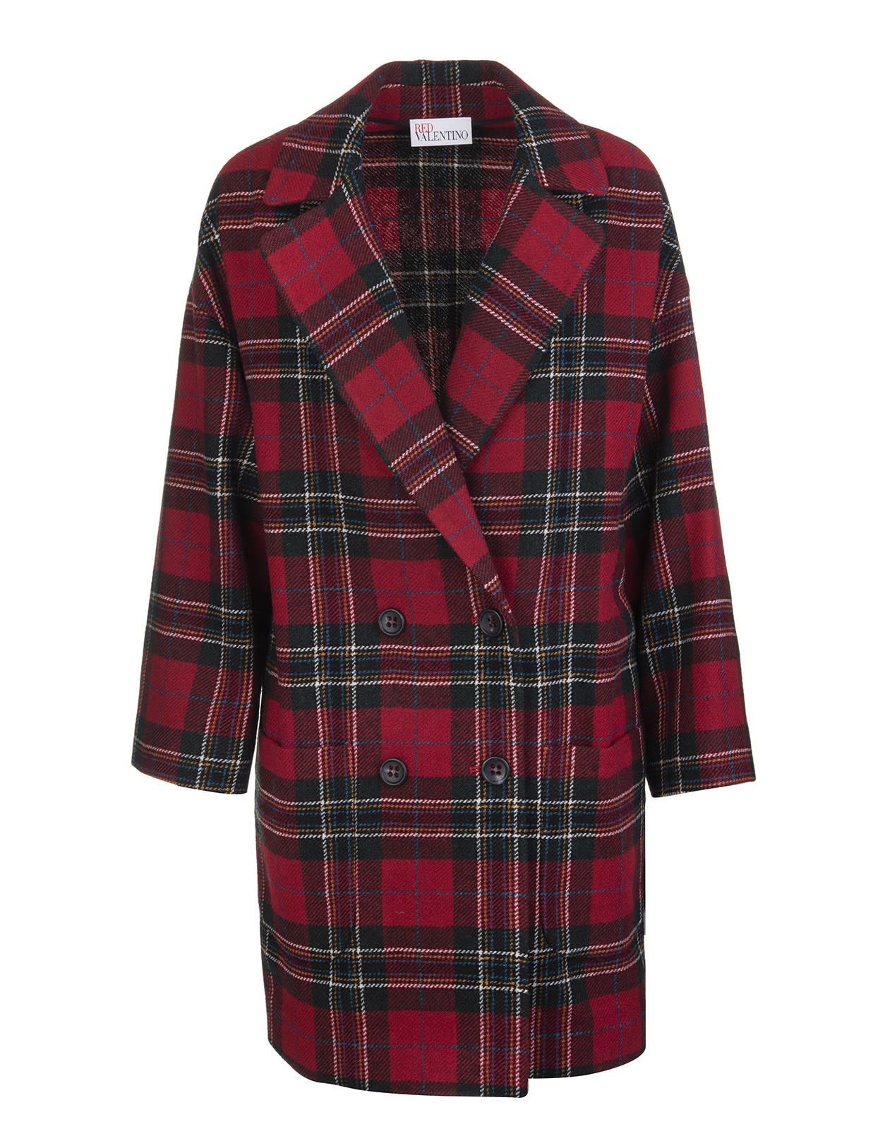 RED Valentino Red Coat In Shetland Tartan