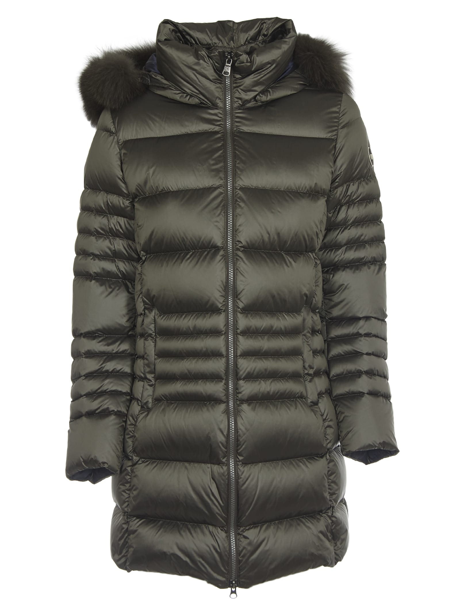 Colmar Green Long Down Jacket With Fur-trimmed Hood