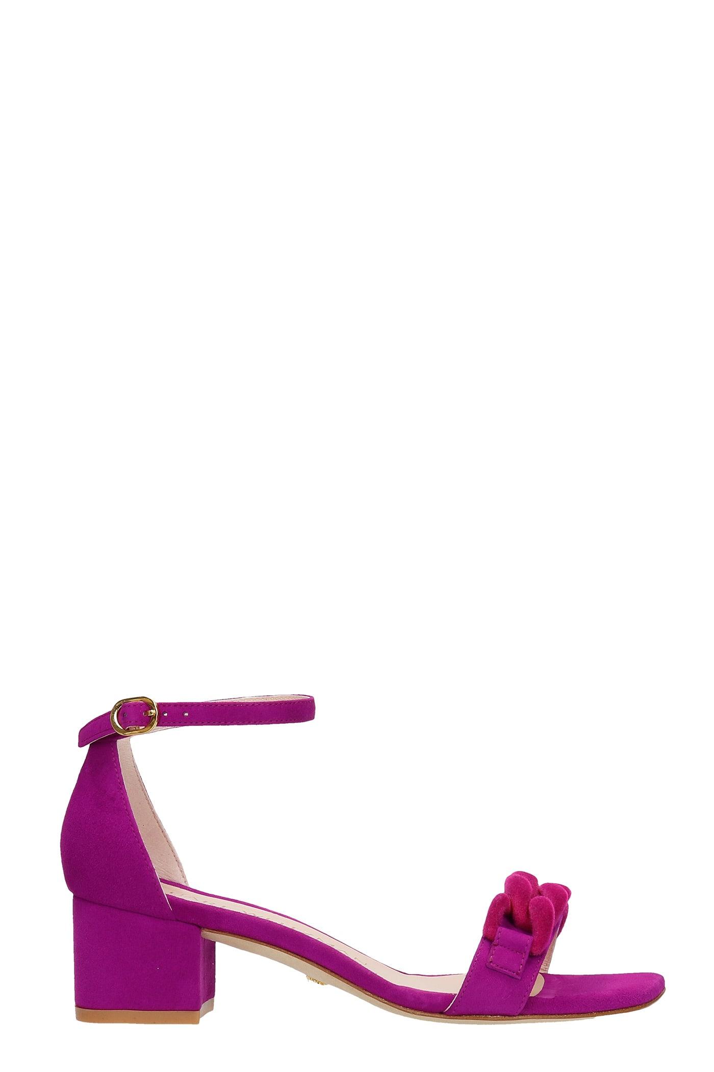 Buy Stuart Weitzman Amelina 50 Sandals In Viola Suede online, shop Stuart Weitzman shoes with free shipping