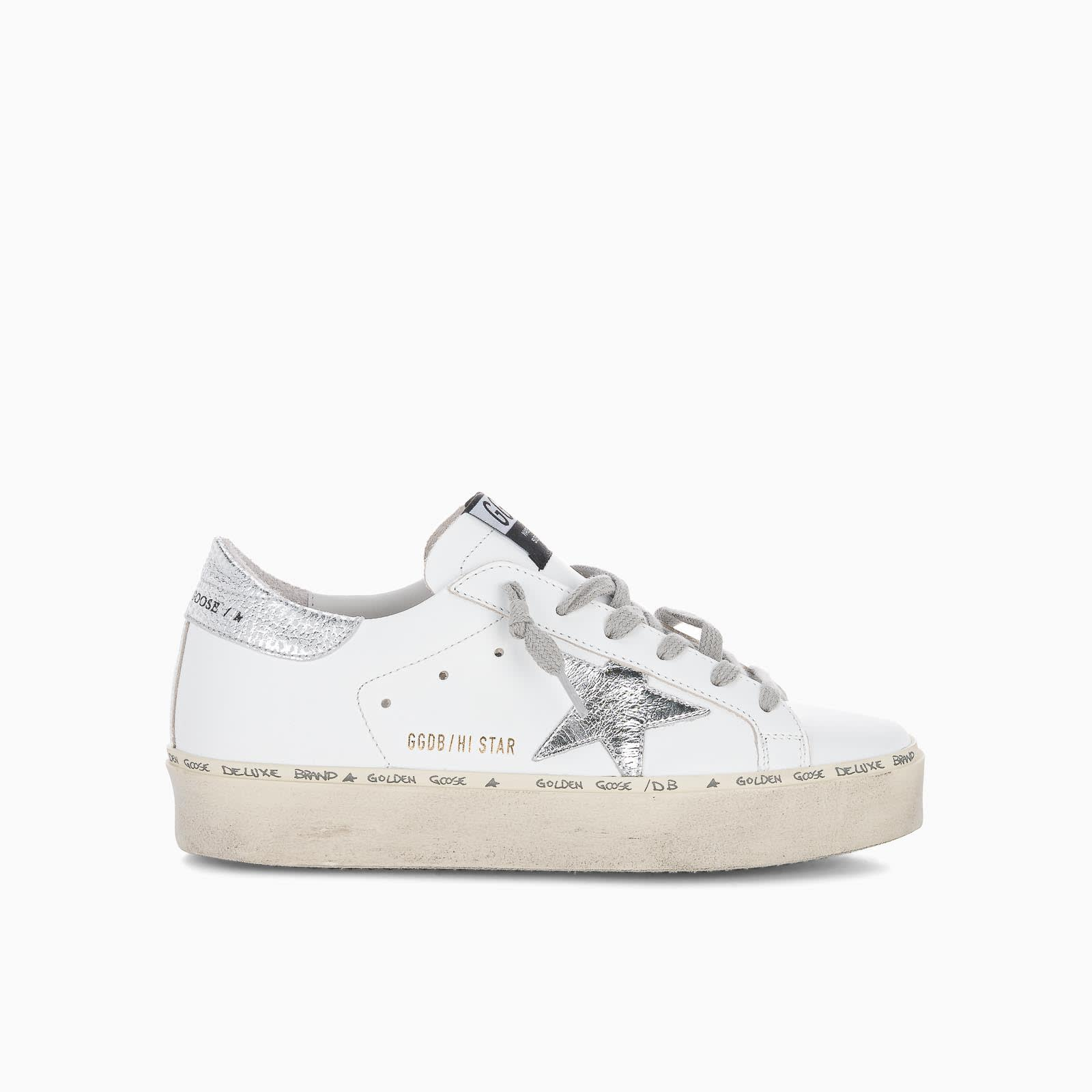 Golden Goose Hi Star Sneakers With Silver Star And Heel Tab