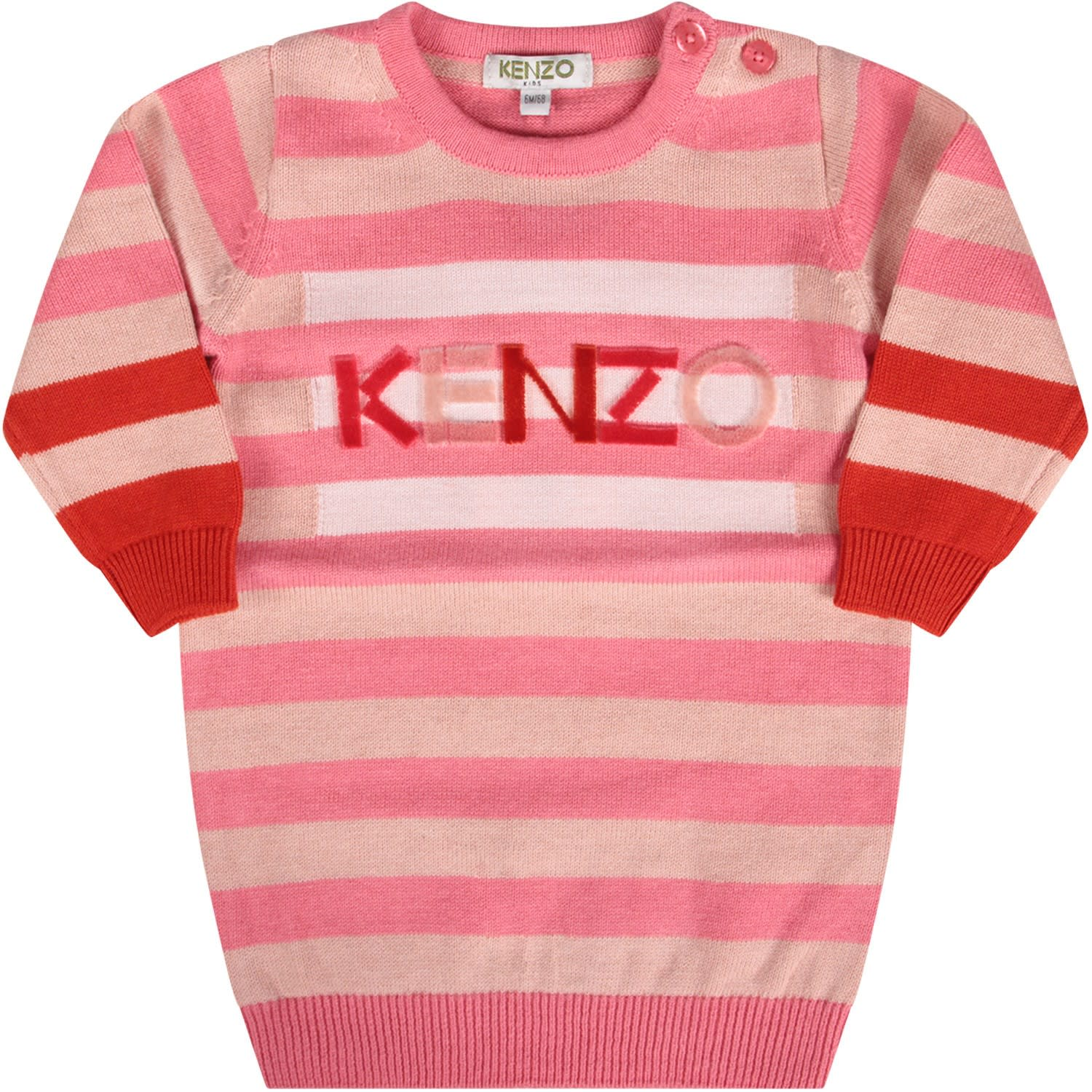 Kenzo Kids Pink Babygirl Striped Dress With Logo