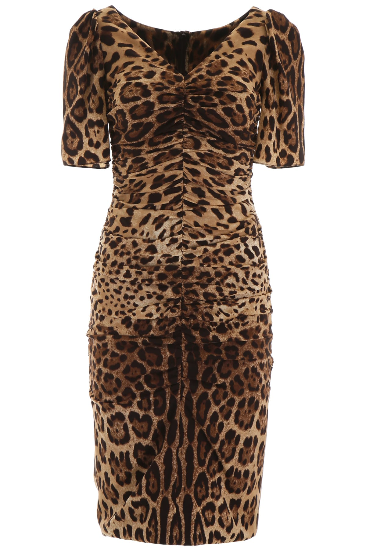 Buy Dolce & Gabbana Leopard Print Midi Dress online, shop Dolce & Gabbana with free shipping