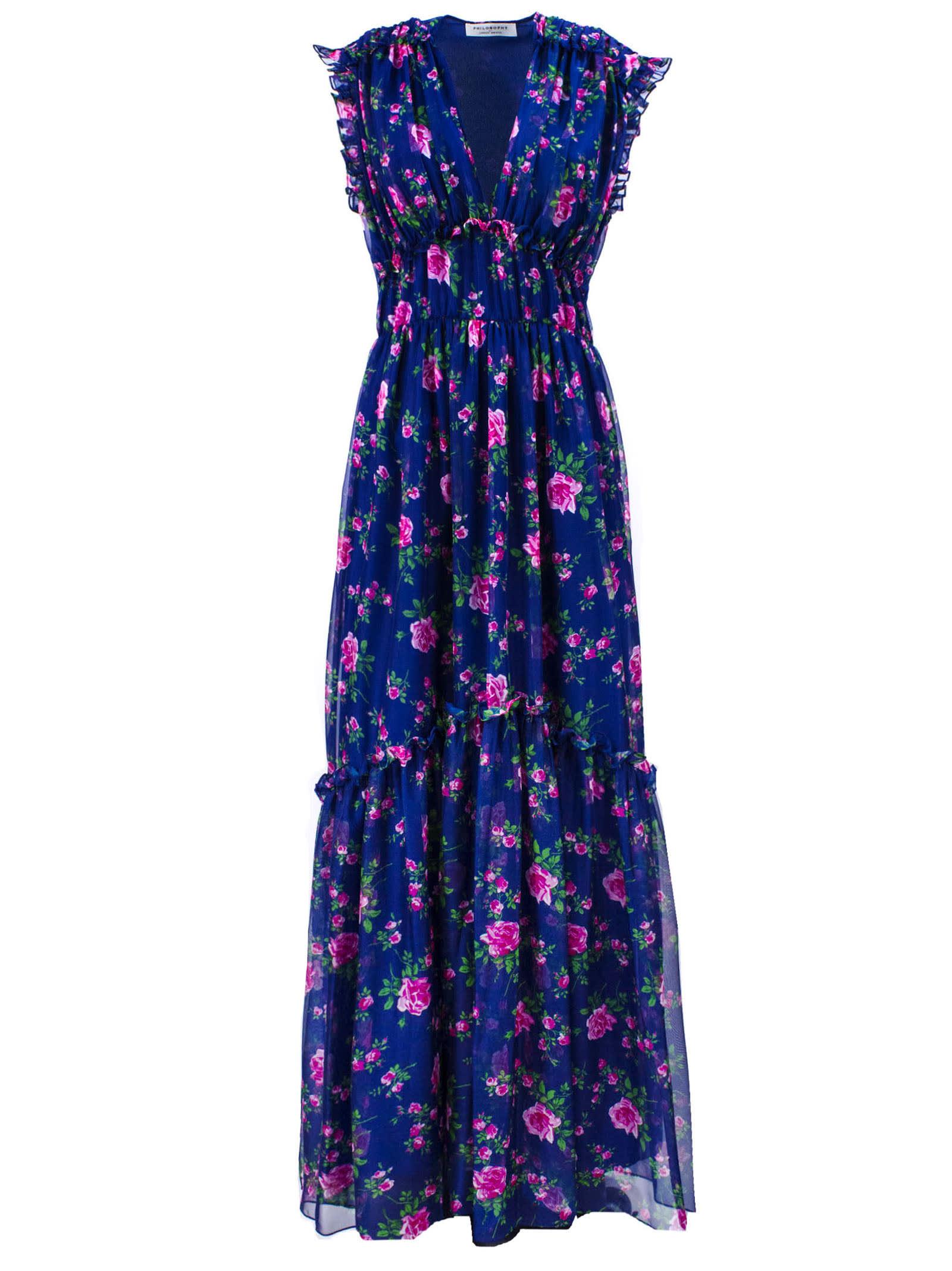 Buy Philosophy di Lorenzo Serafini Dark Blue Floral-print Maxi Dress online, shop Philosophy di Lorenzo Serafini with free shipping