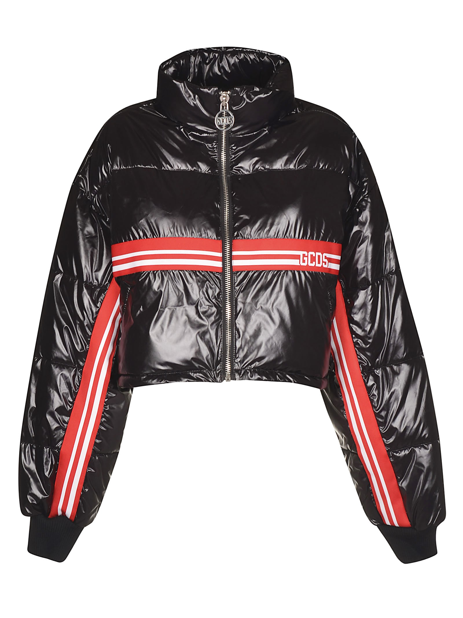 GCDS Cropped Logo Stripe Padded Jacket