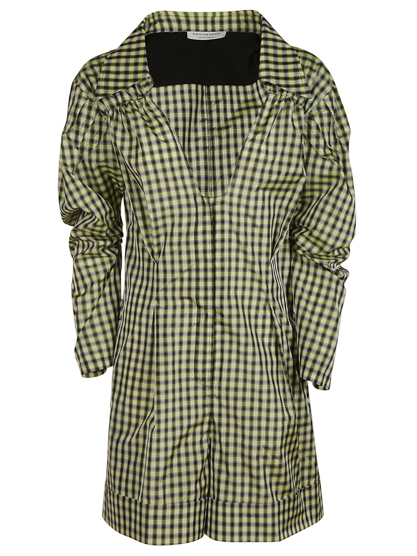 Buy Philosophy di Lorenzo Serafini V-neck Checked Dress online, shop Philosophy di Lorenzo Serafini with free shipping