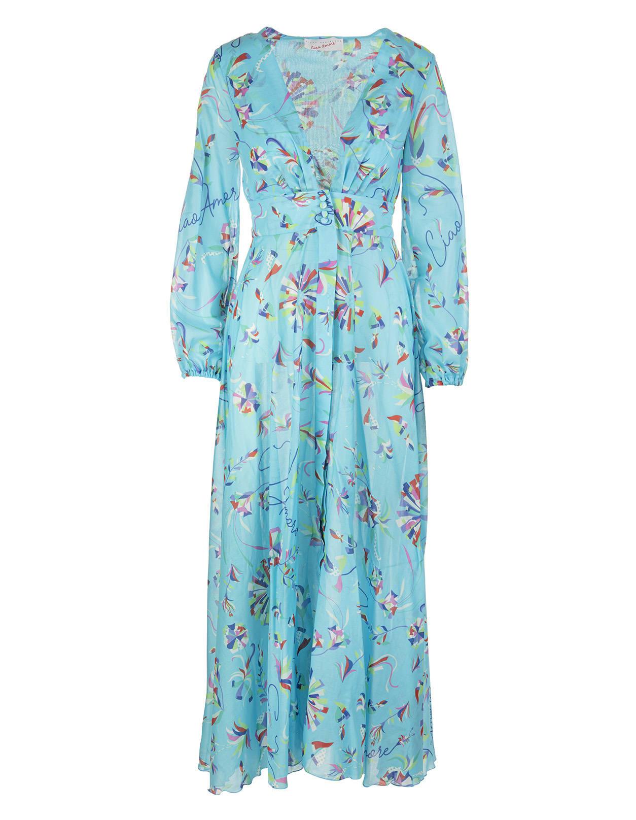 Light Blue Printed Long Dress With V-neck