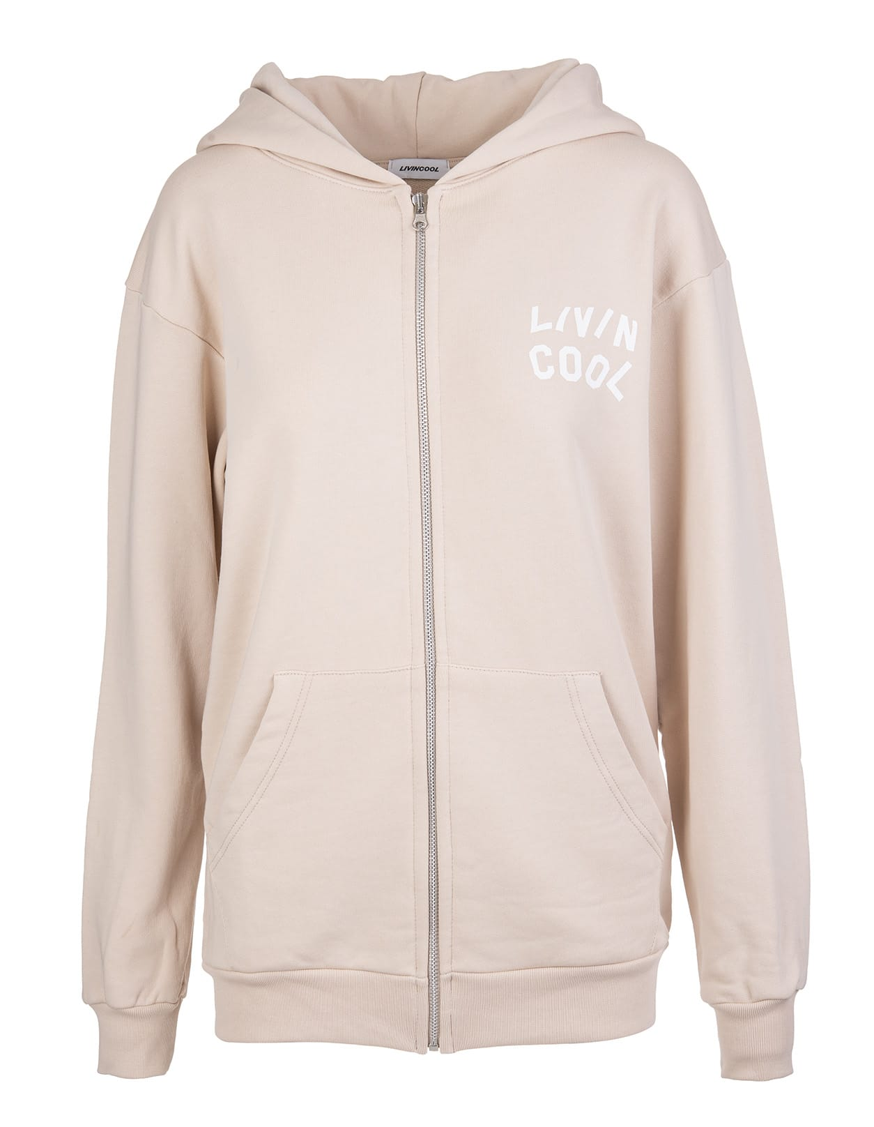 Woman Beige Hoodie With Zip And Logo Printed Front And Back