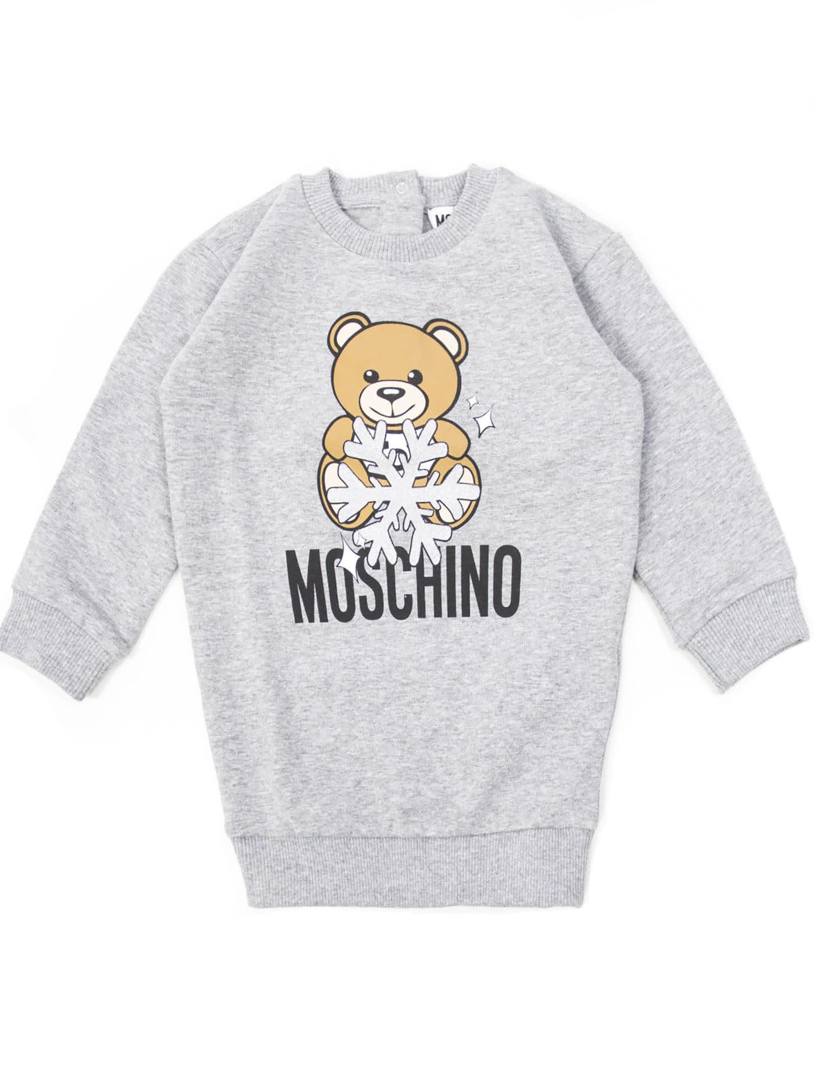 Moschino Grey Cotton Sweatshirt Dress