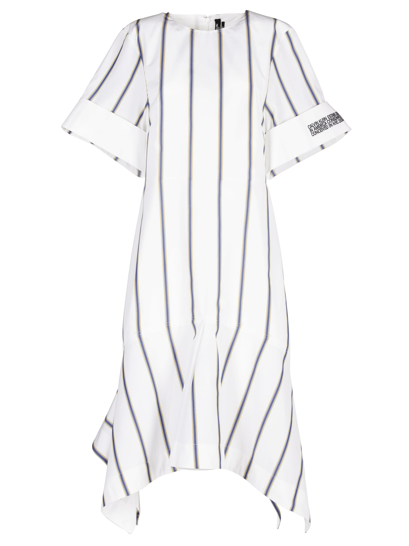 Calvin Klein Striped Asymmetric Dress