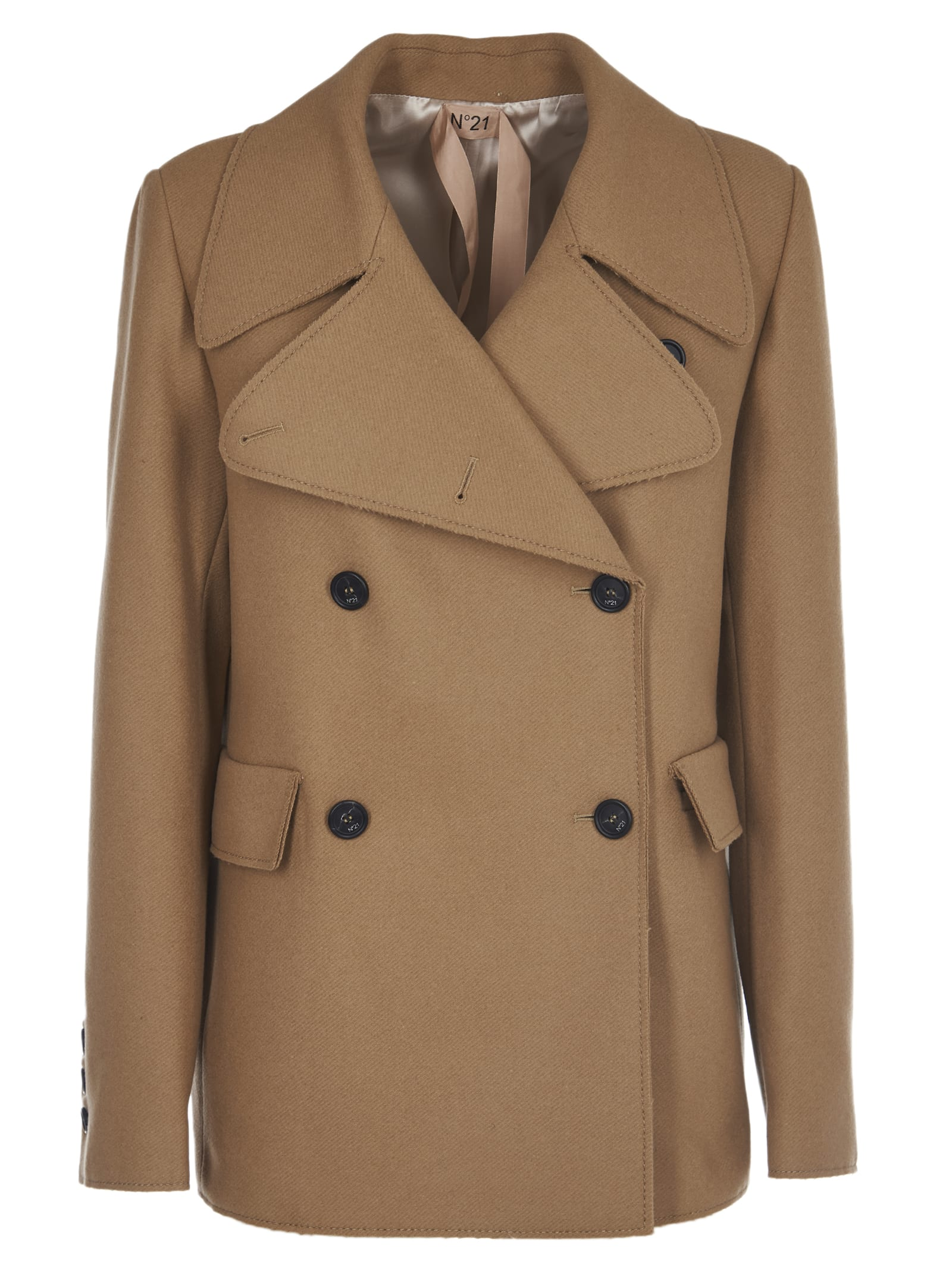 N.21 Camel Short Double-breasted Coat